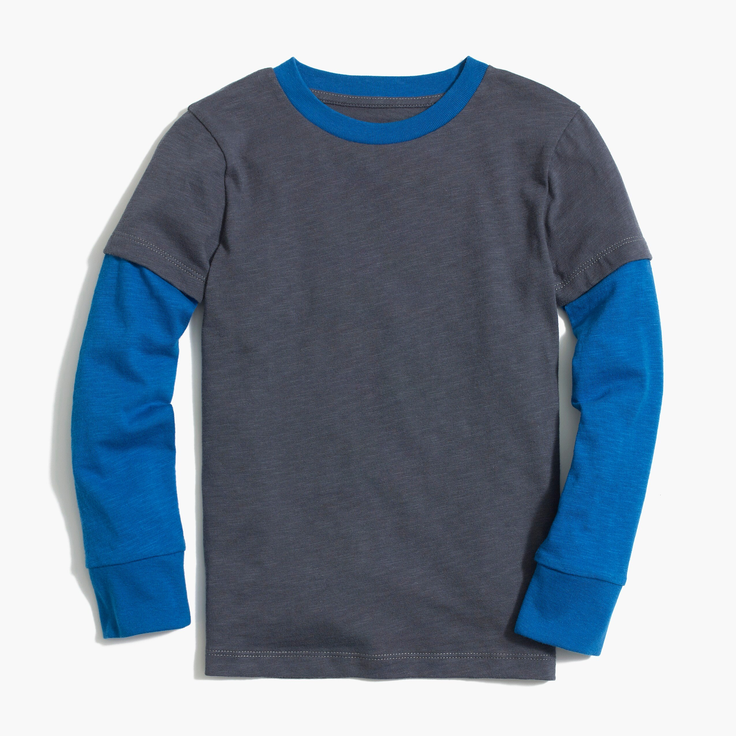 Boys' long-sleeve slub cotton layered T-shirt
