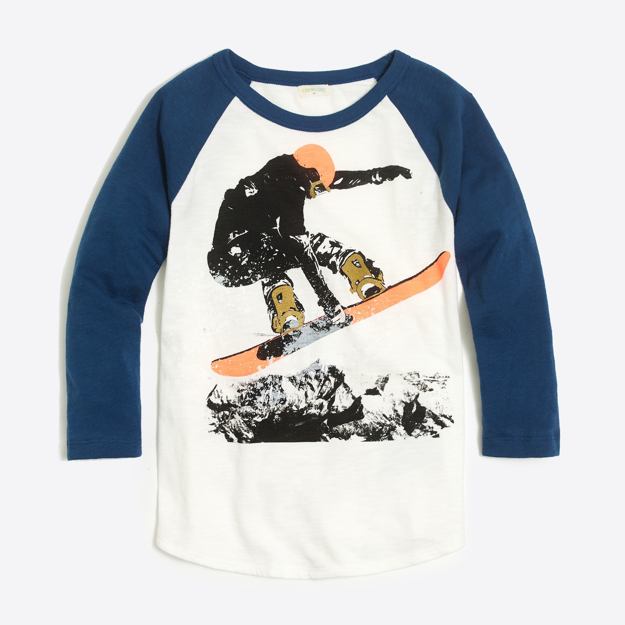 Boys' raglan sleeve snowboarder graphic T-shirt