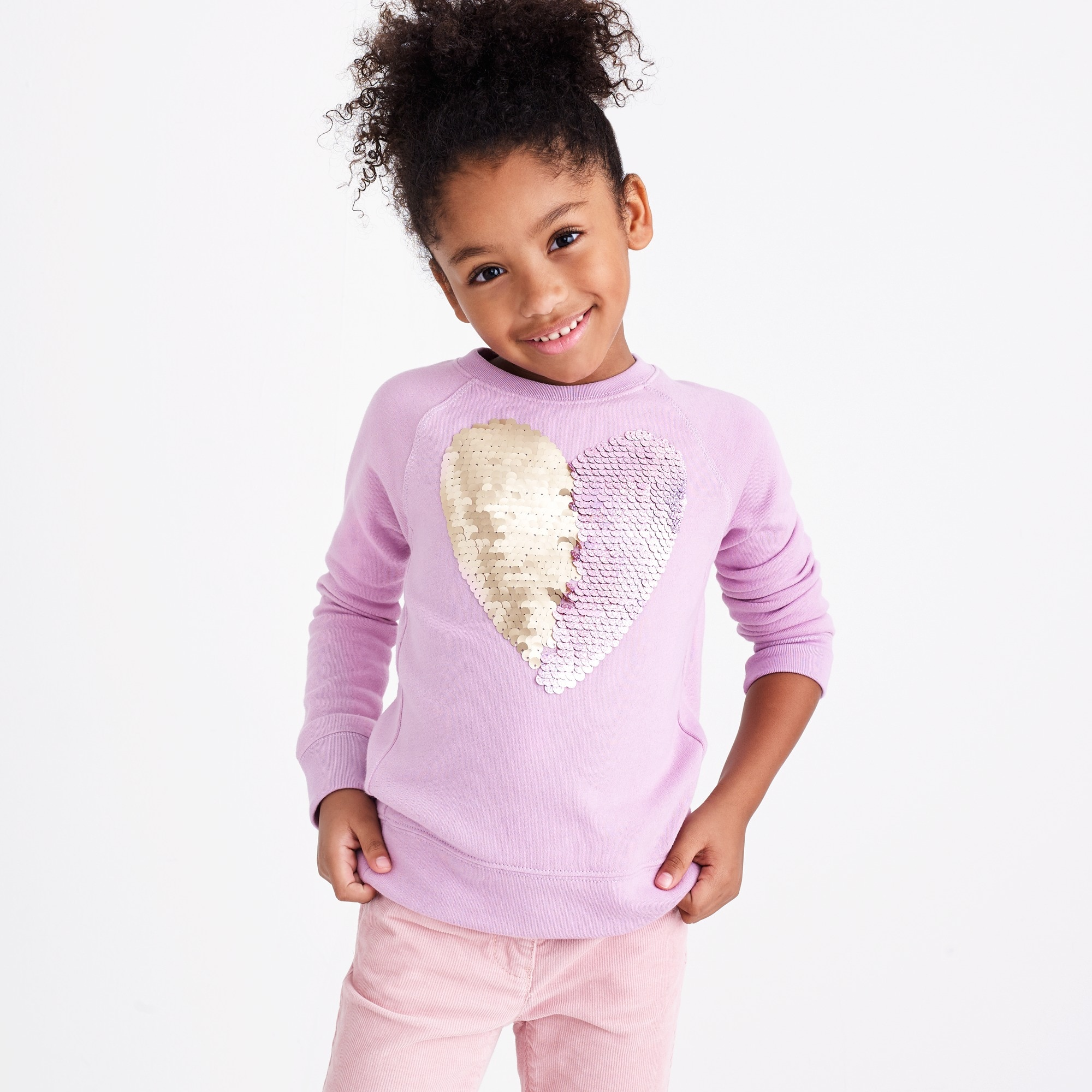 Image 3 for Girls' sequin heart sweatshirt