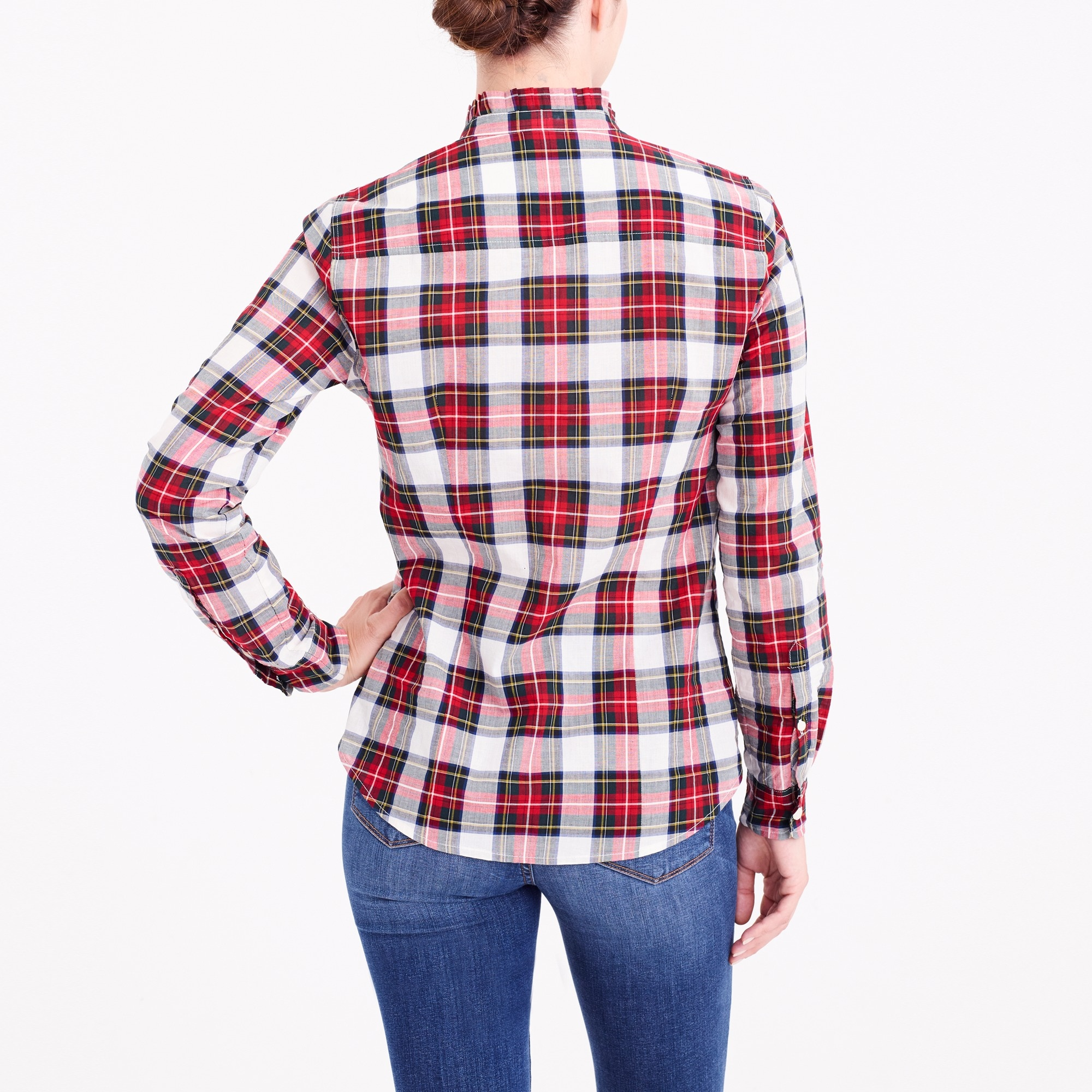 Ruffle-front plaid shirt