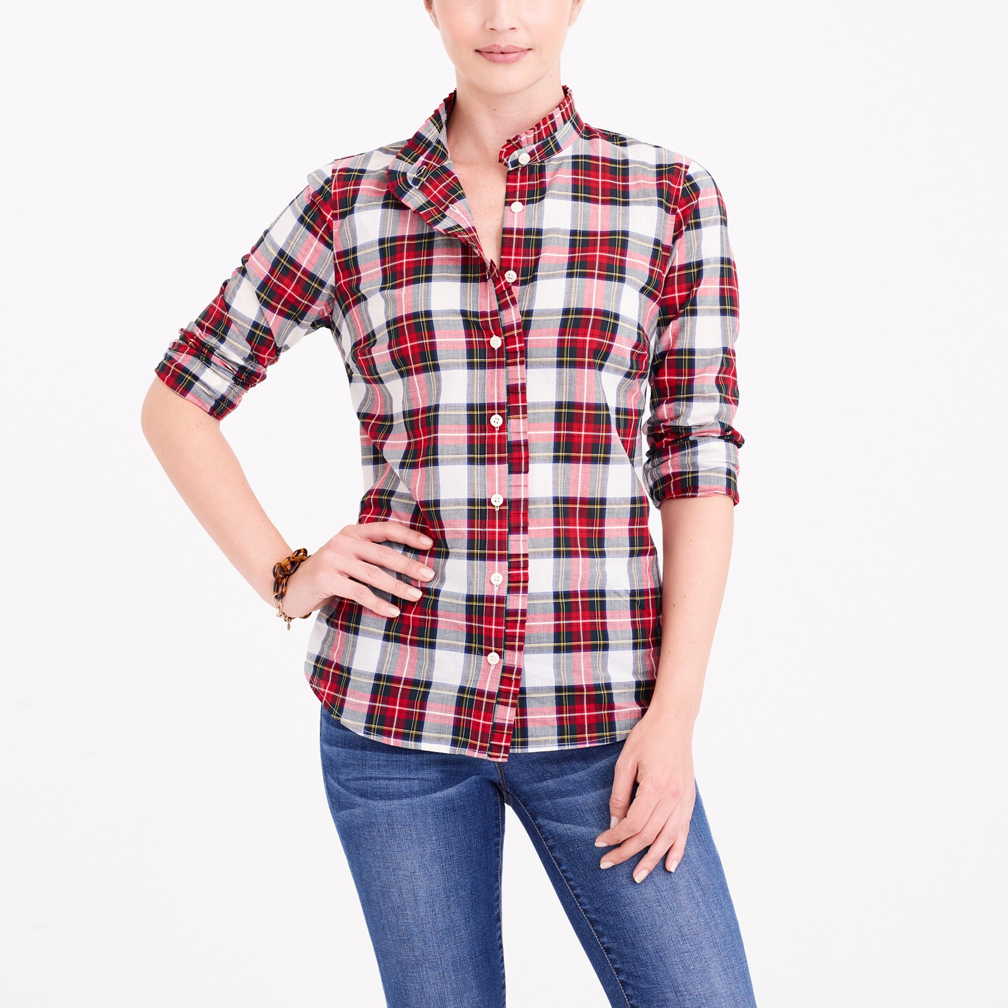 j.crew factory: ruffle-front plaid shirt