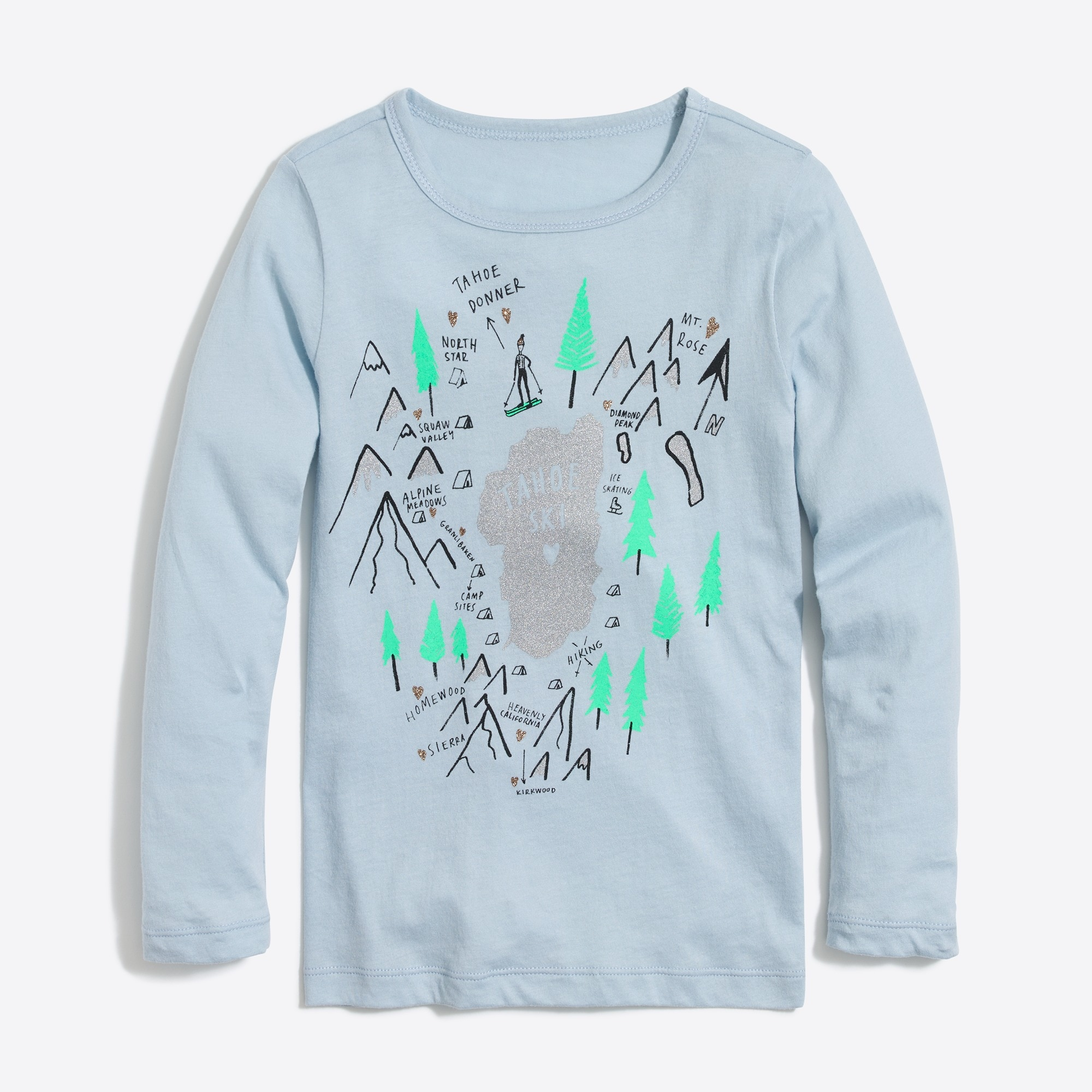 Girls' long-sleeve winter scene keepsake T-shirt