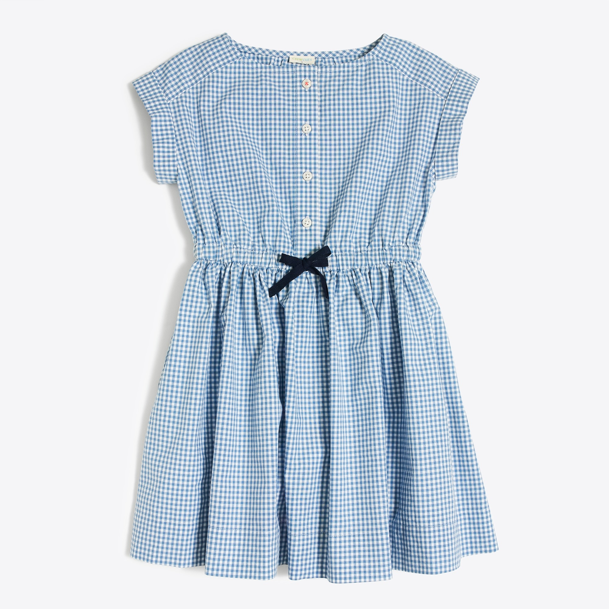 Girls' short-sleeve gingham shirt dress