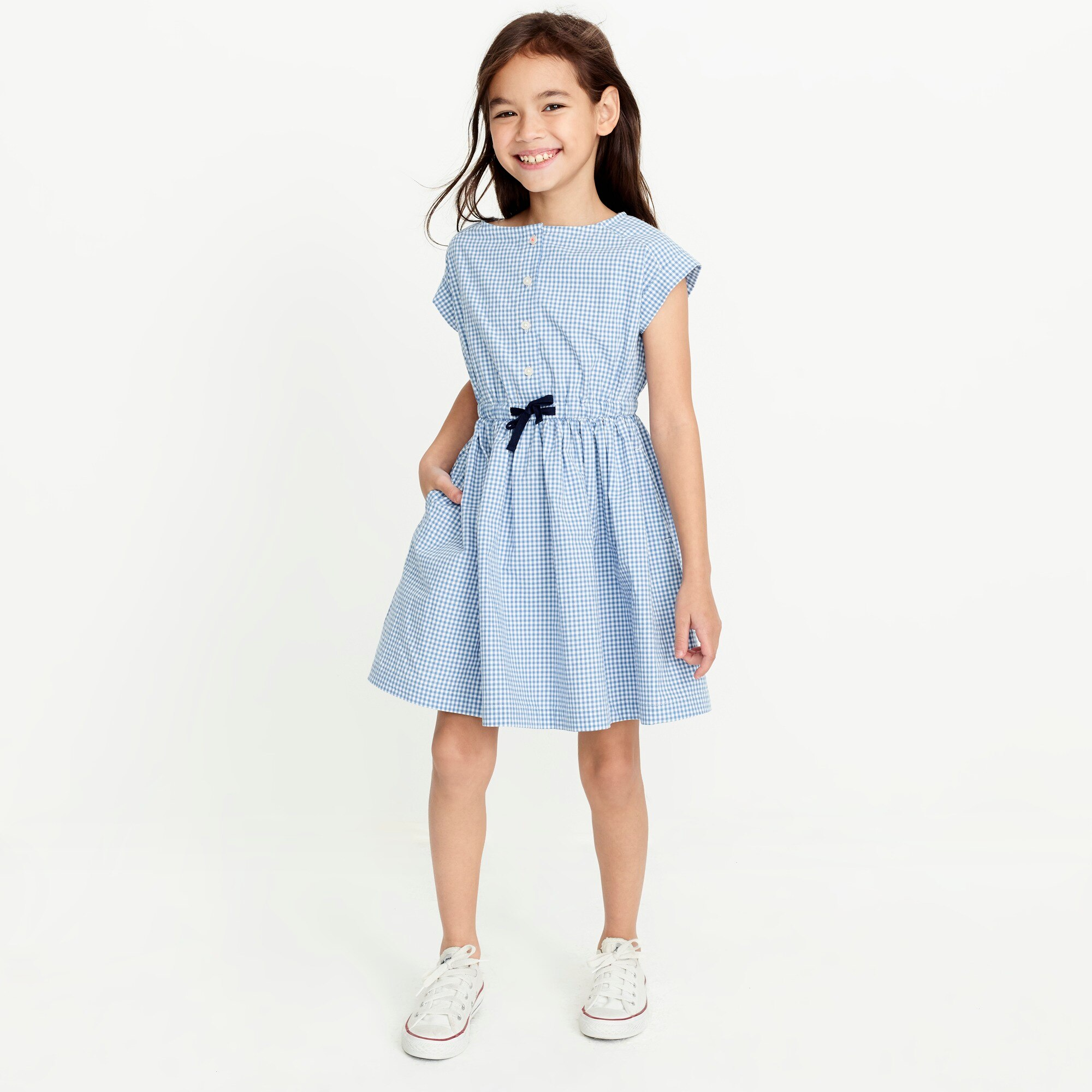 Image 1 for Girls' short-sleeve gingham shirt dress