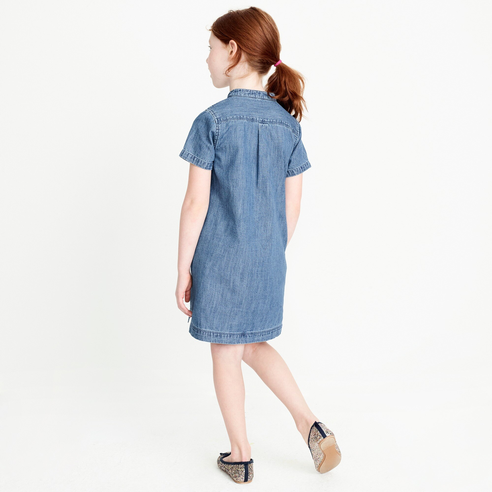 Girls' short-sleeve chambray utility dress