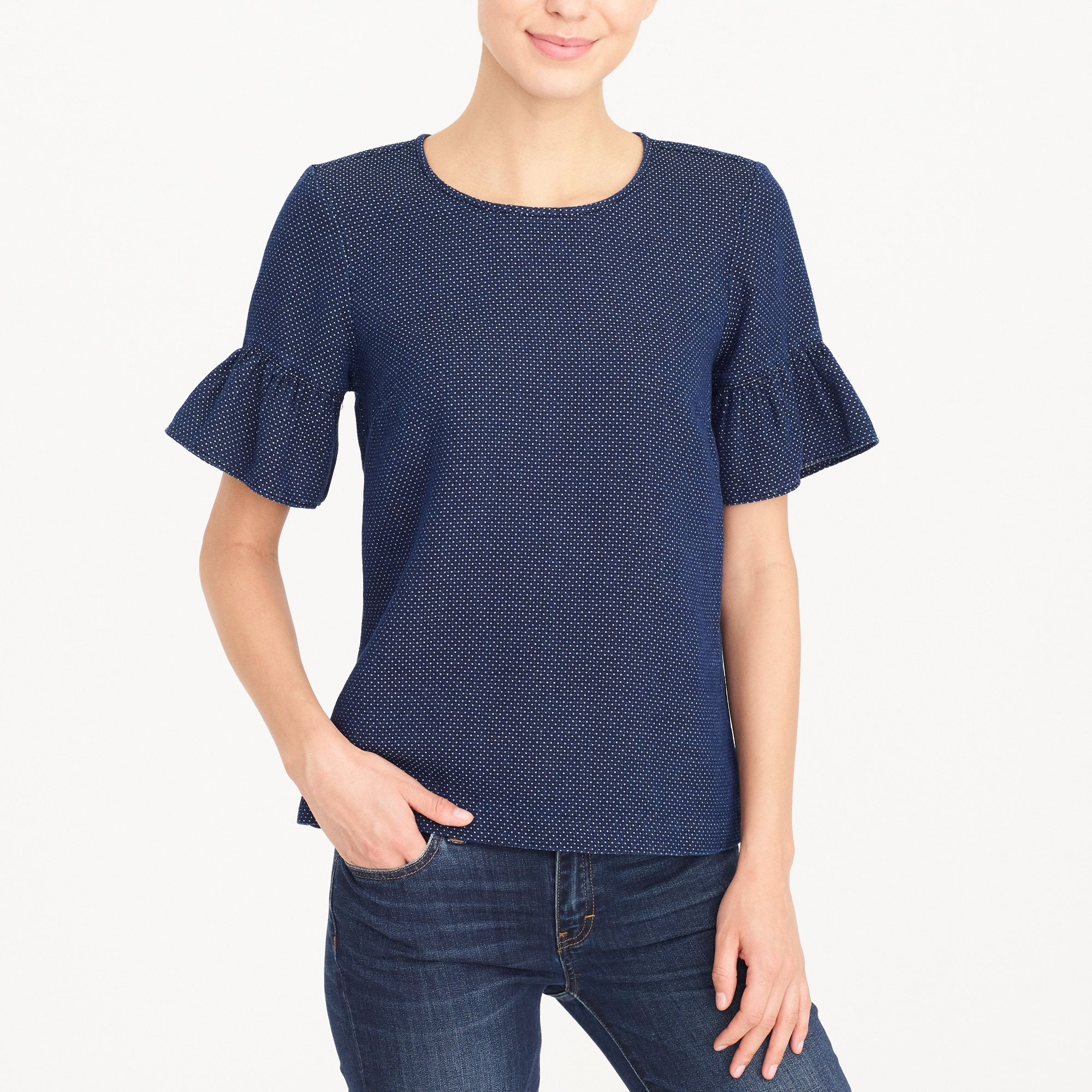 Indigo dot ruffle-sleeve top