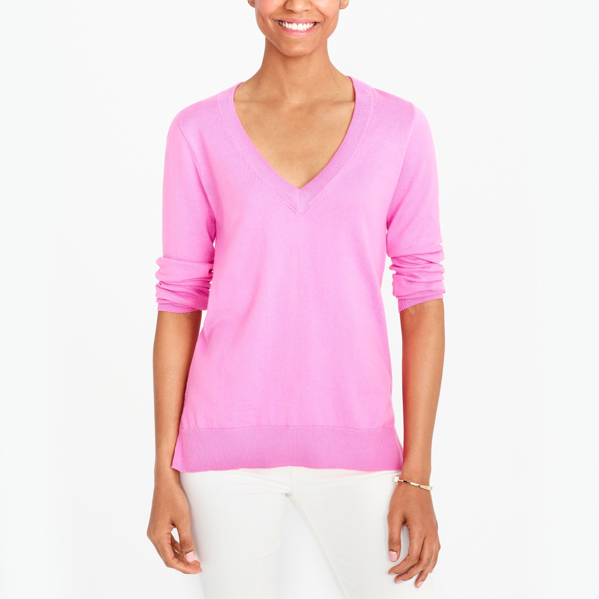 cotton v-neck sweater : factorywomen pullovers