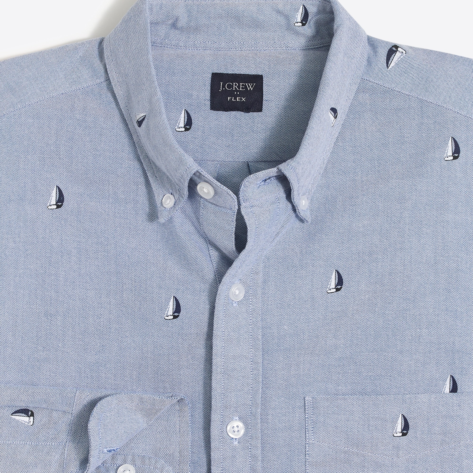 factory mens Slim flex printed oxford shirt