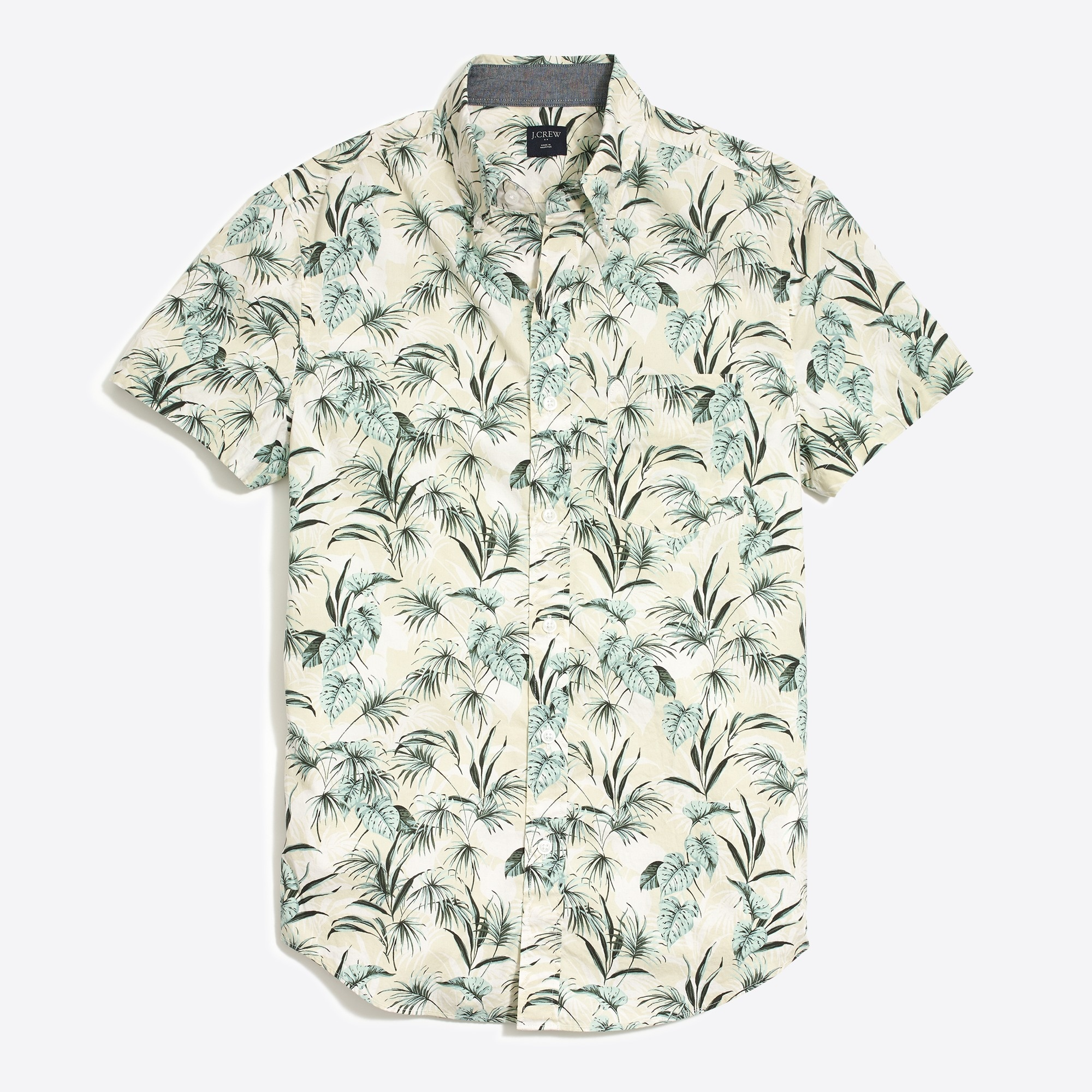 Slim-fit short-sleeve printed shirt
