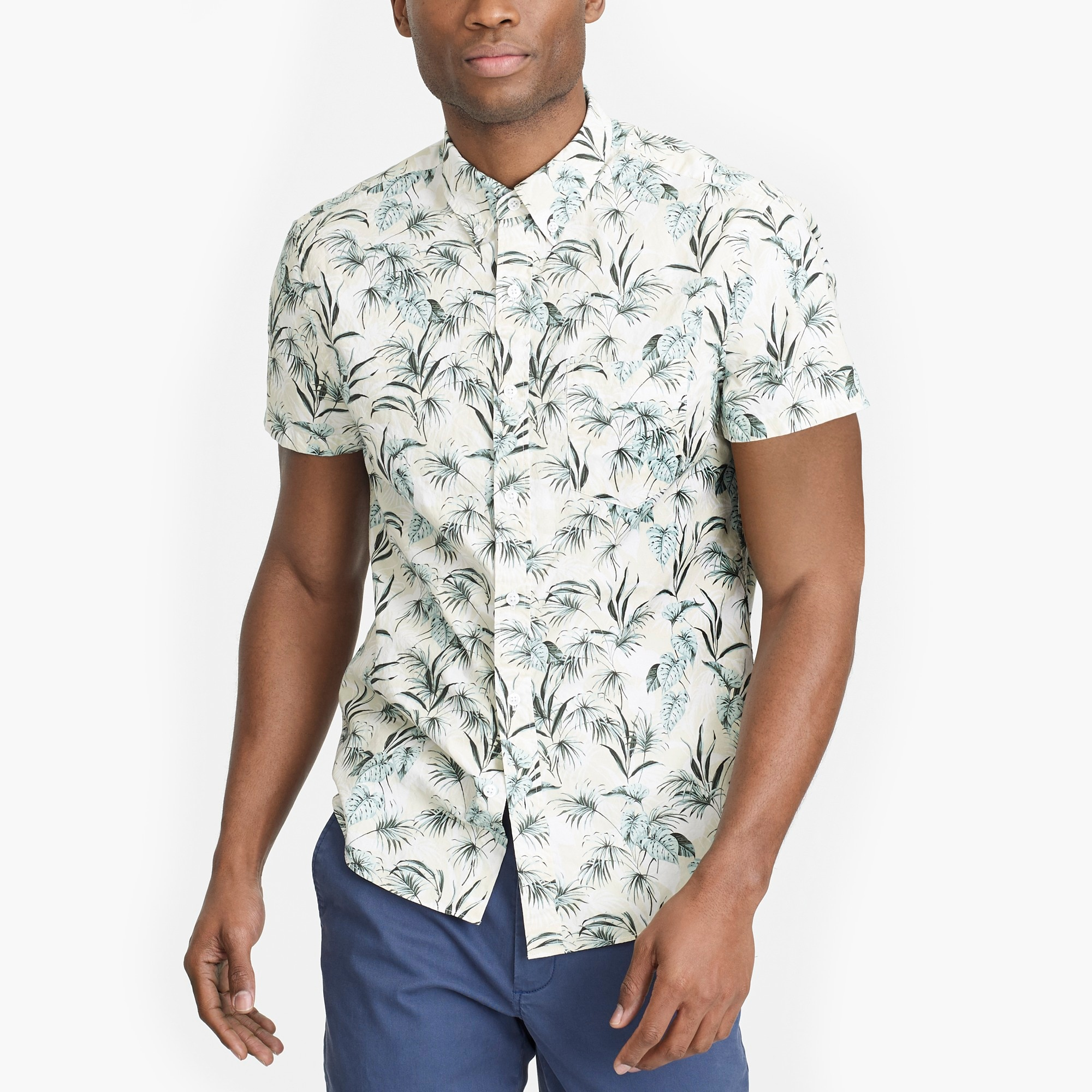 Image 1 for Slim-fit short-sleeve printed shirt