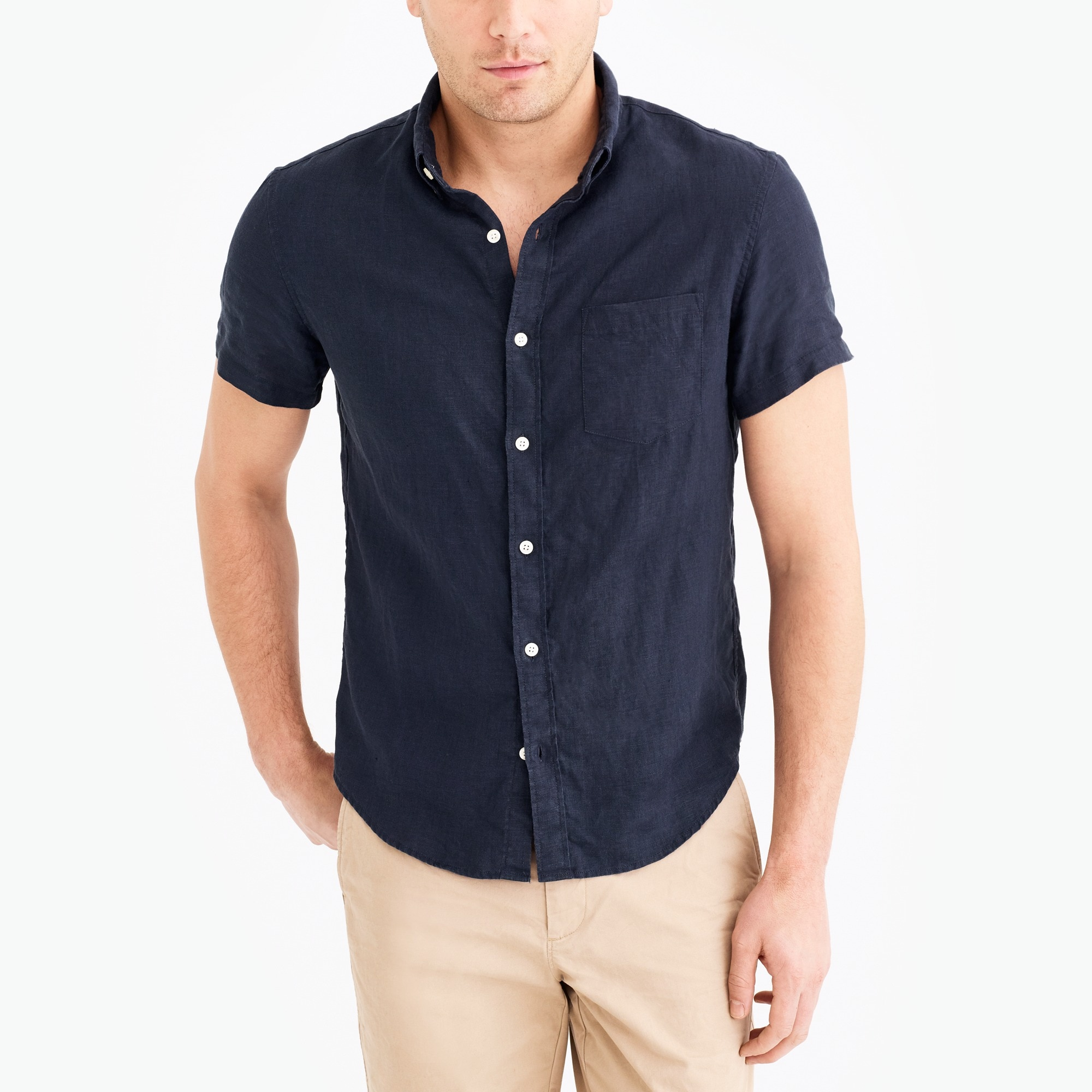 slim-fit short-sleeve linen shirt : factorymen short sleeve
