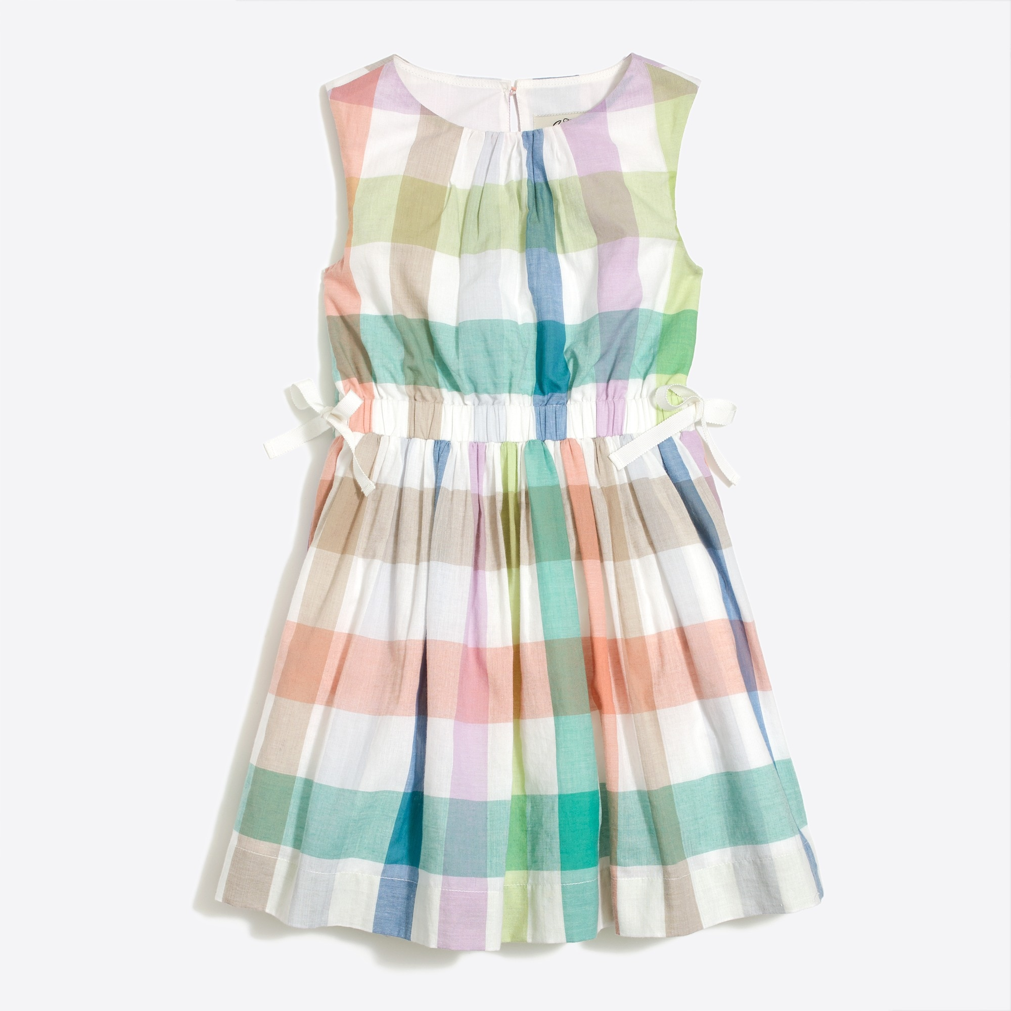 girls' sleeveless dress in rainbow gingham : factorygirls dresses