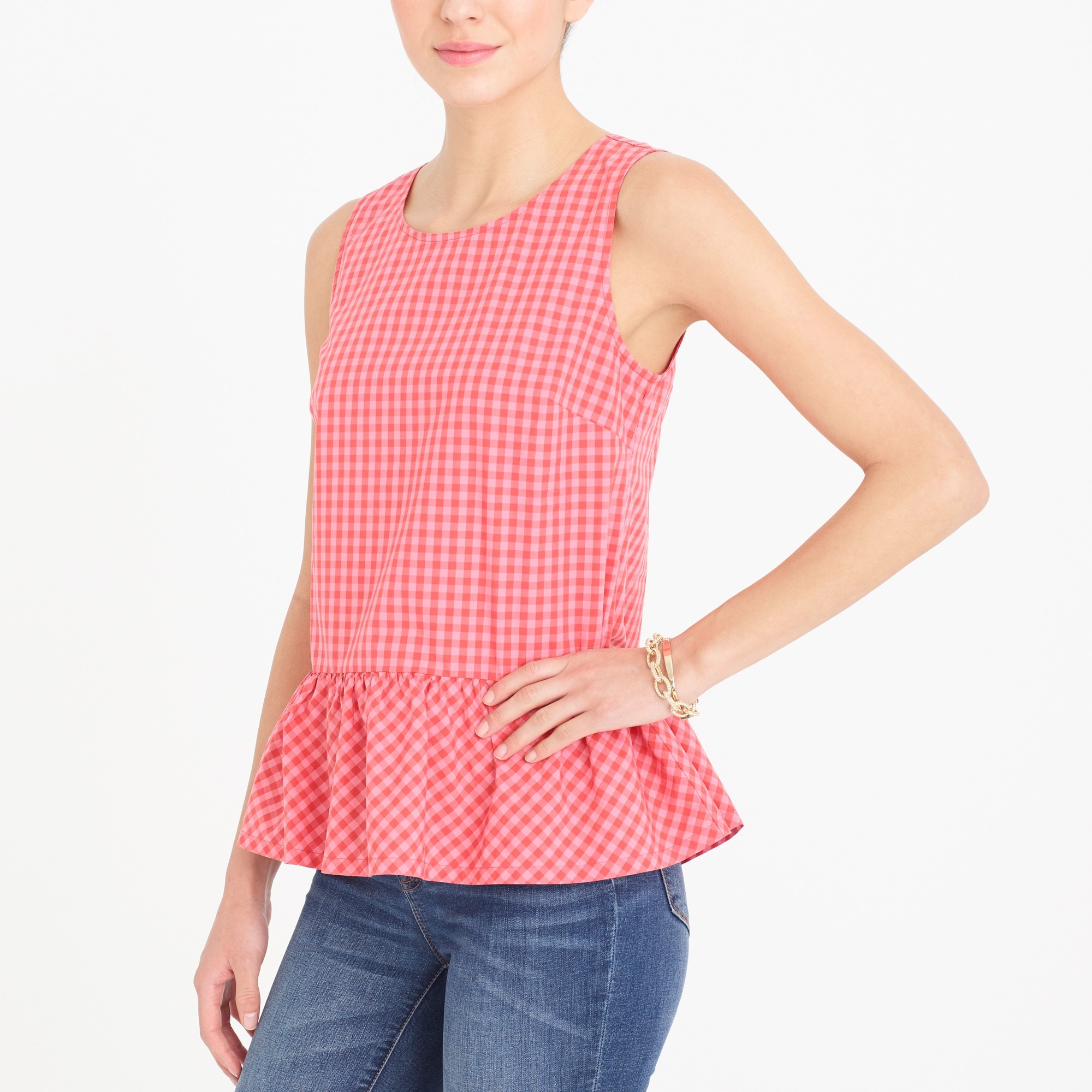 Printed bow-back peplum tank top factorywomen new arrivals c