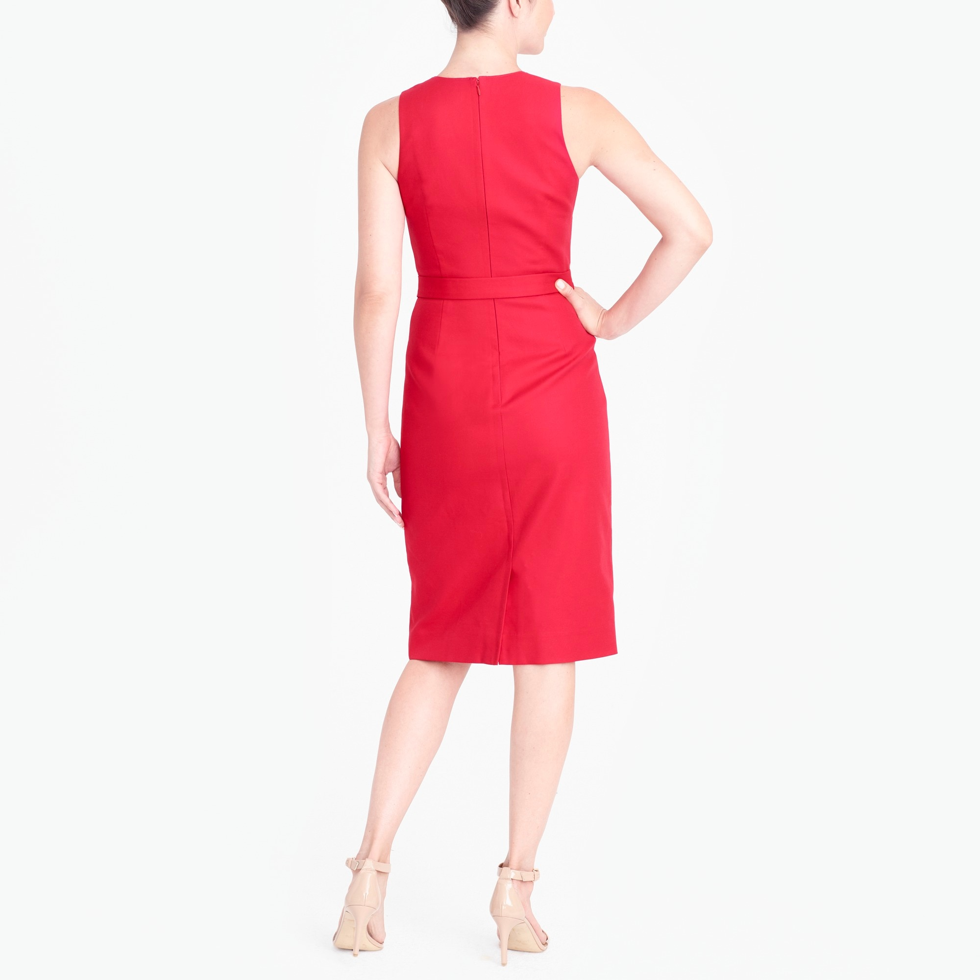 Image 2 for V-neck fitted dress with belt
