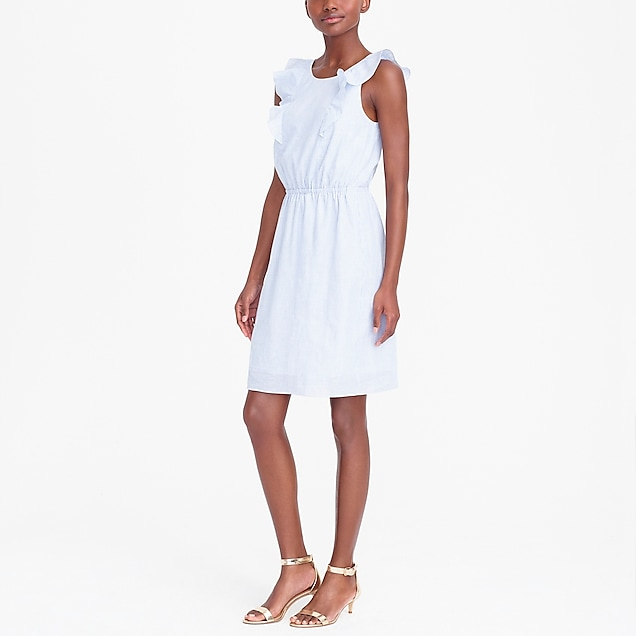 j.crew factory: striped ruffle-shoulder dress