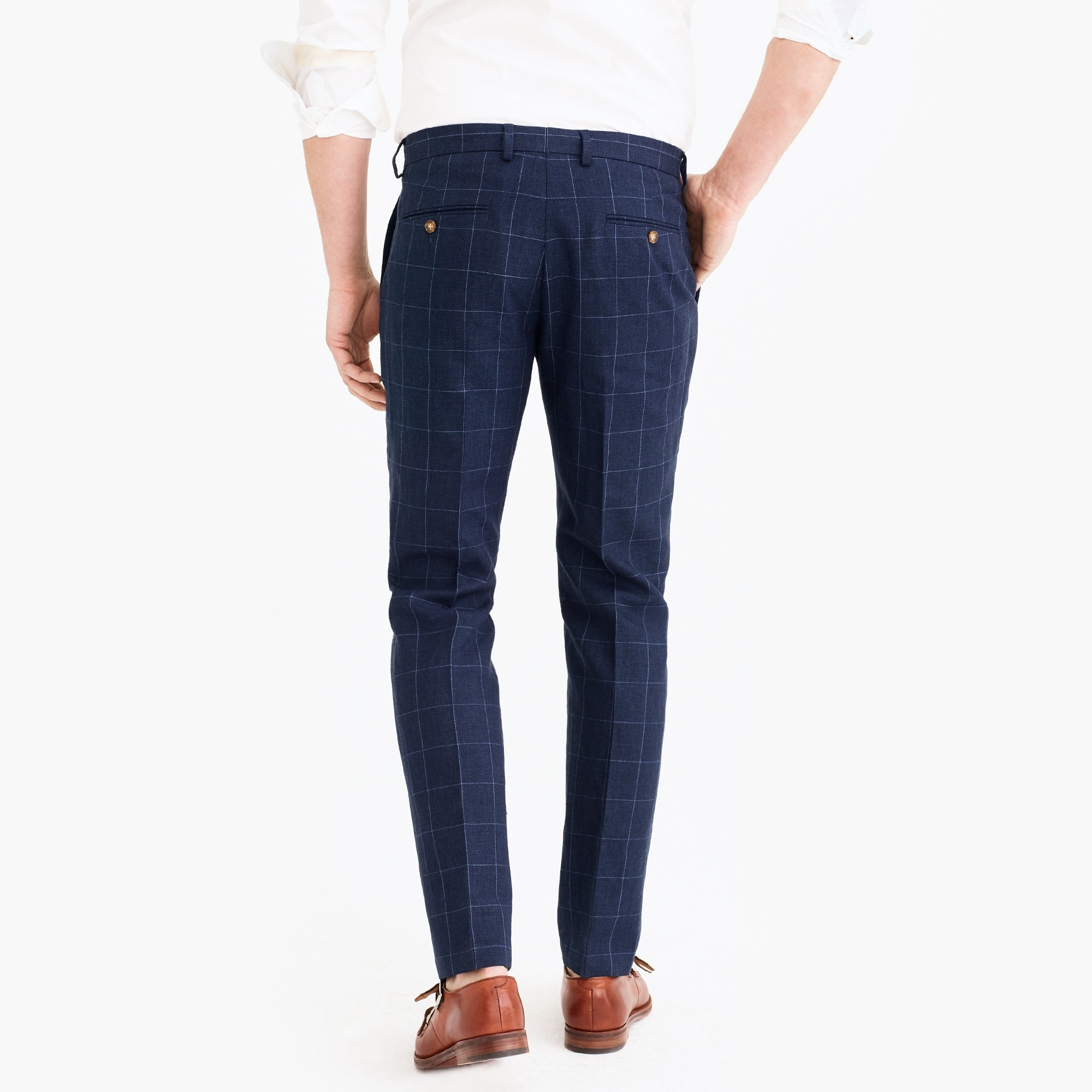 Slim-fit Thompson suit pant in linen-cotton windowpane