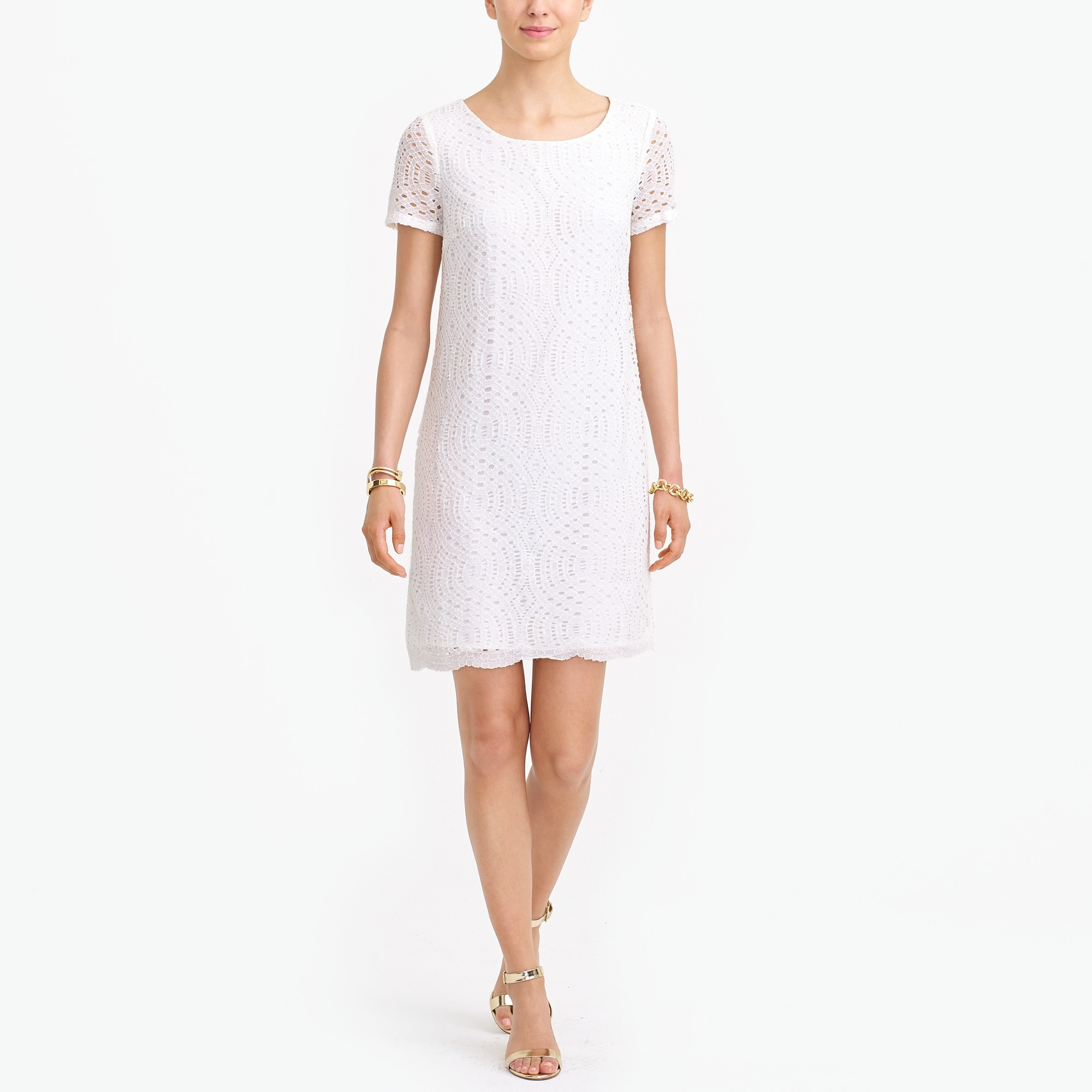 Lace dress with scalloped hem factorywomen new arrivals c