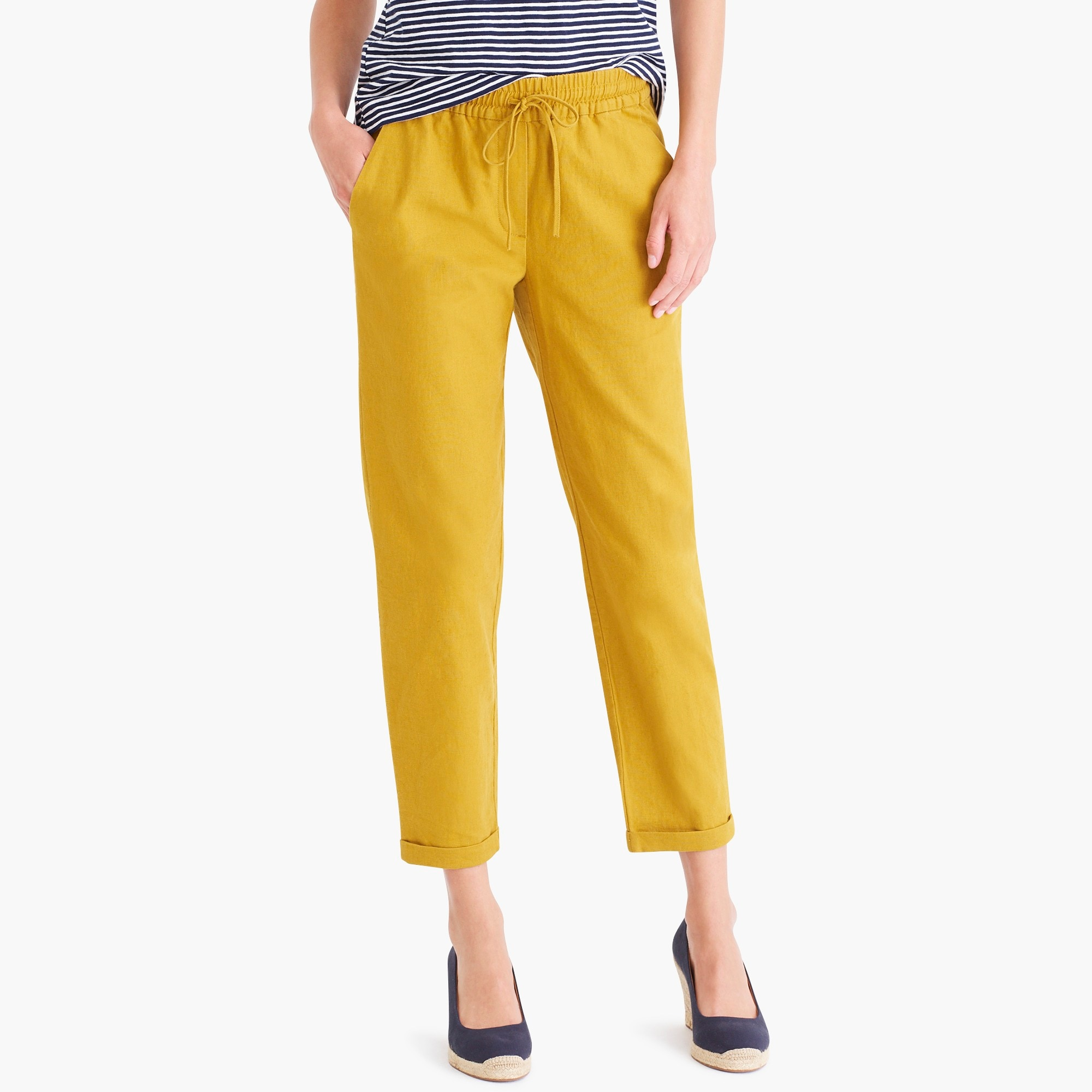 linen-cotton drawstring pant : factorywomen pull-on