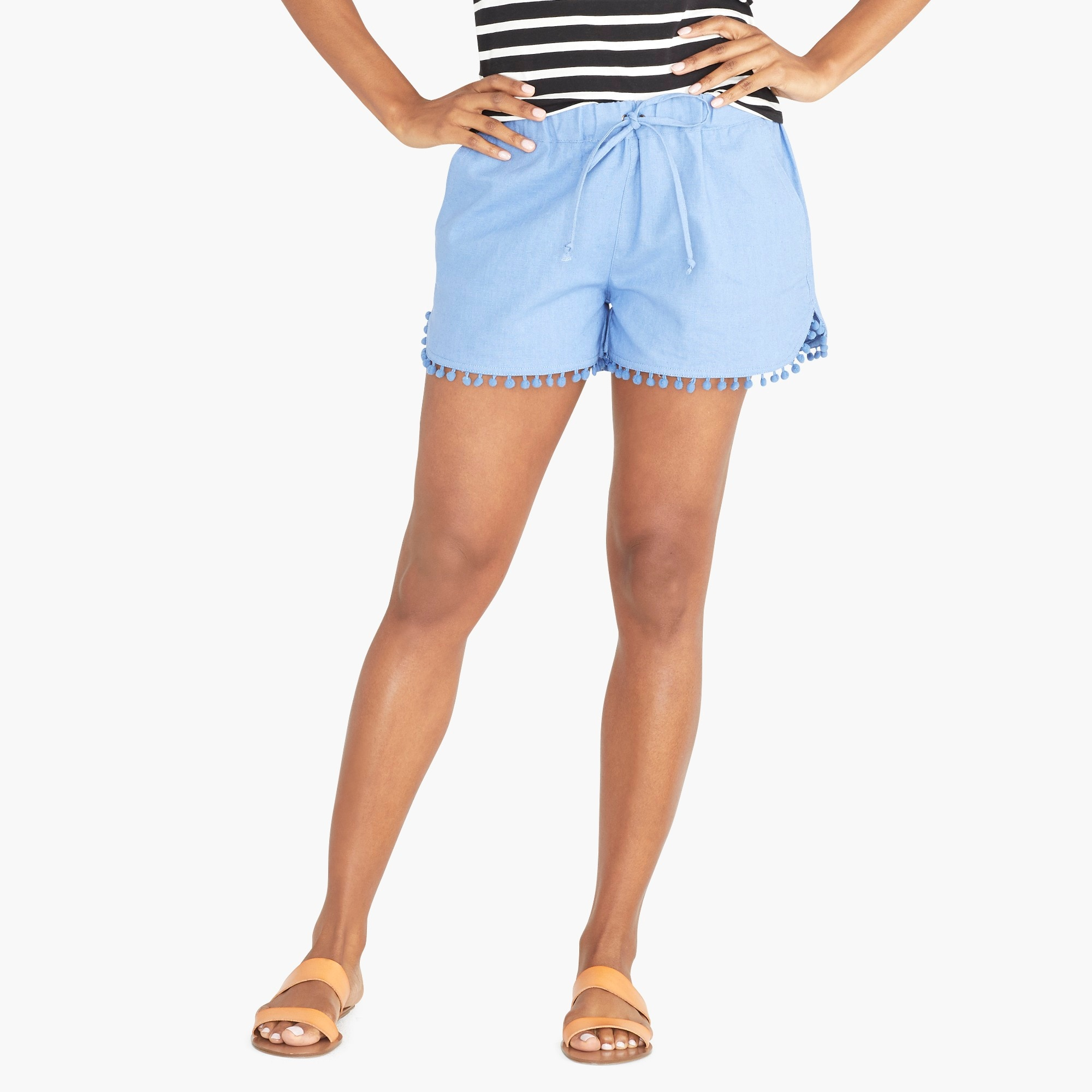 "factory womens 3"" pom-pom drawstring short"