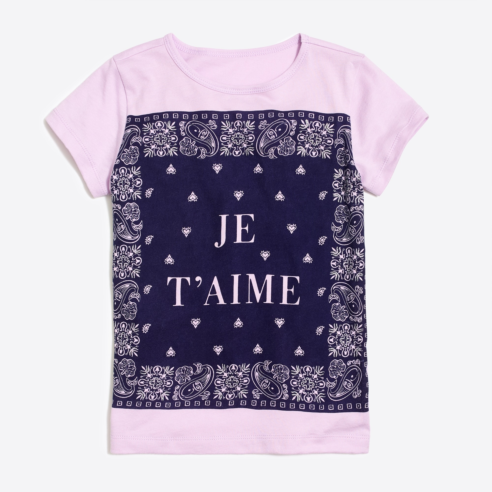girls' je t'aime bandana graphic t-shirt : factorygirls graphics