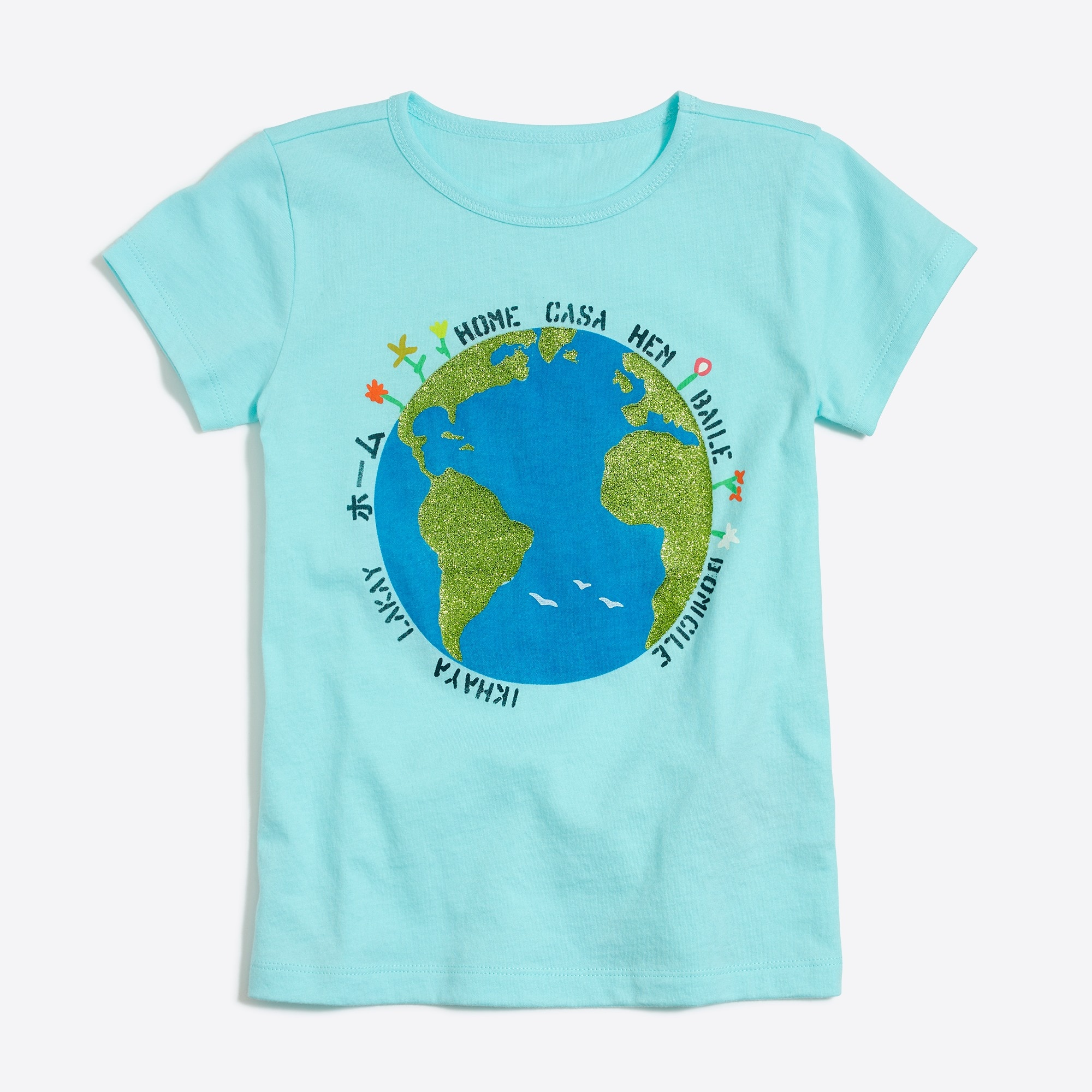 Girls' glitter earth keepsake T-shirt factorygirls shirts, t-shirts & tops c