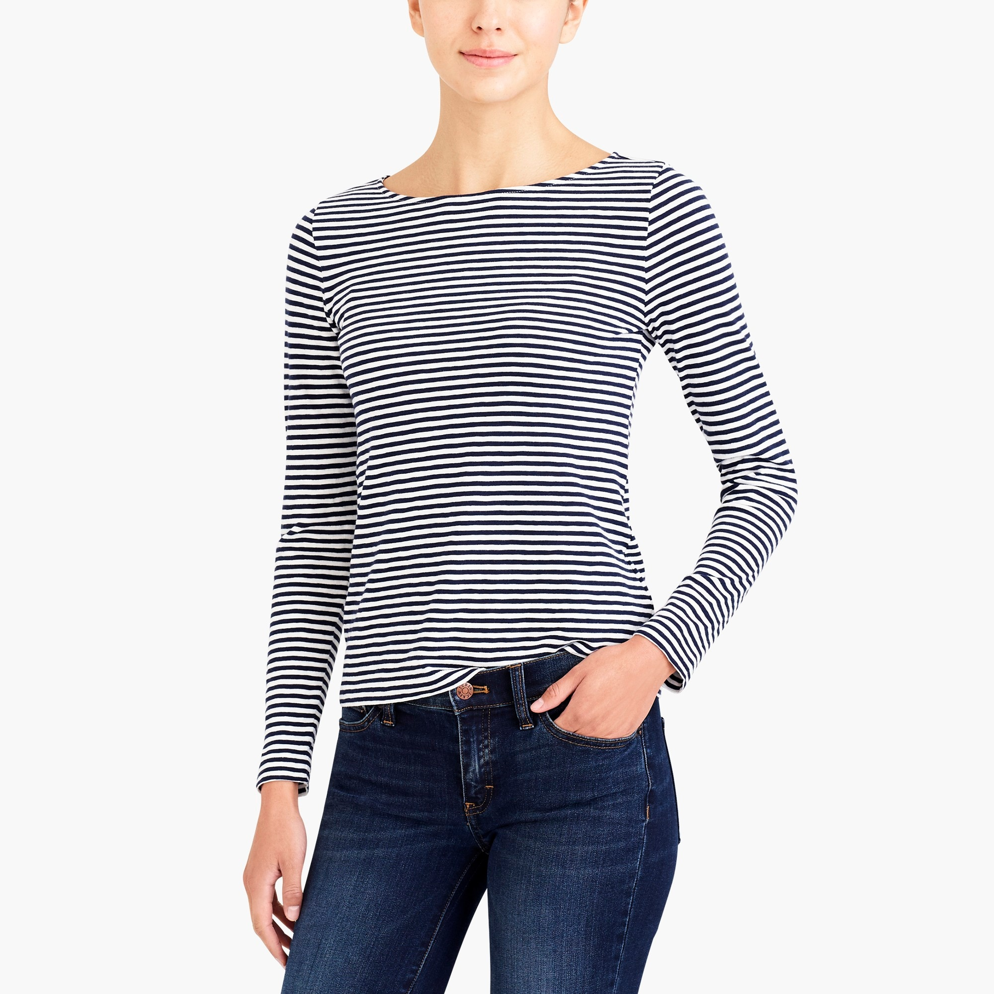 factory womens Long-sleeve striped artist T-shirt