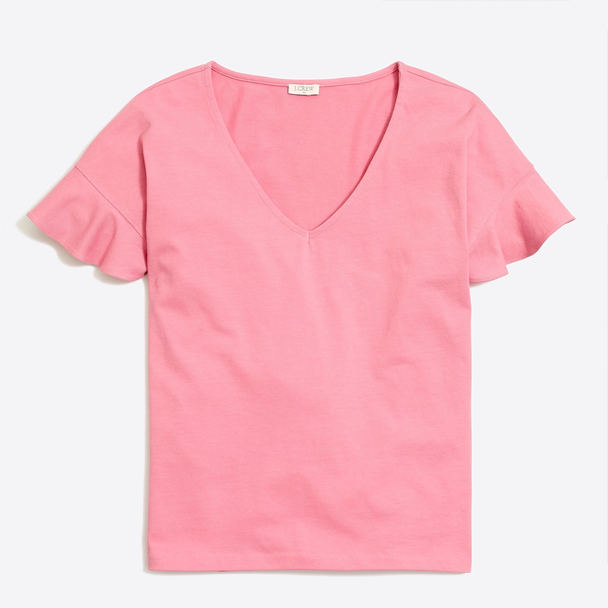 Flutter-sleeve V-neck T-shirt