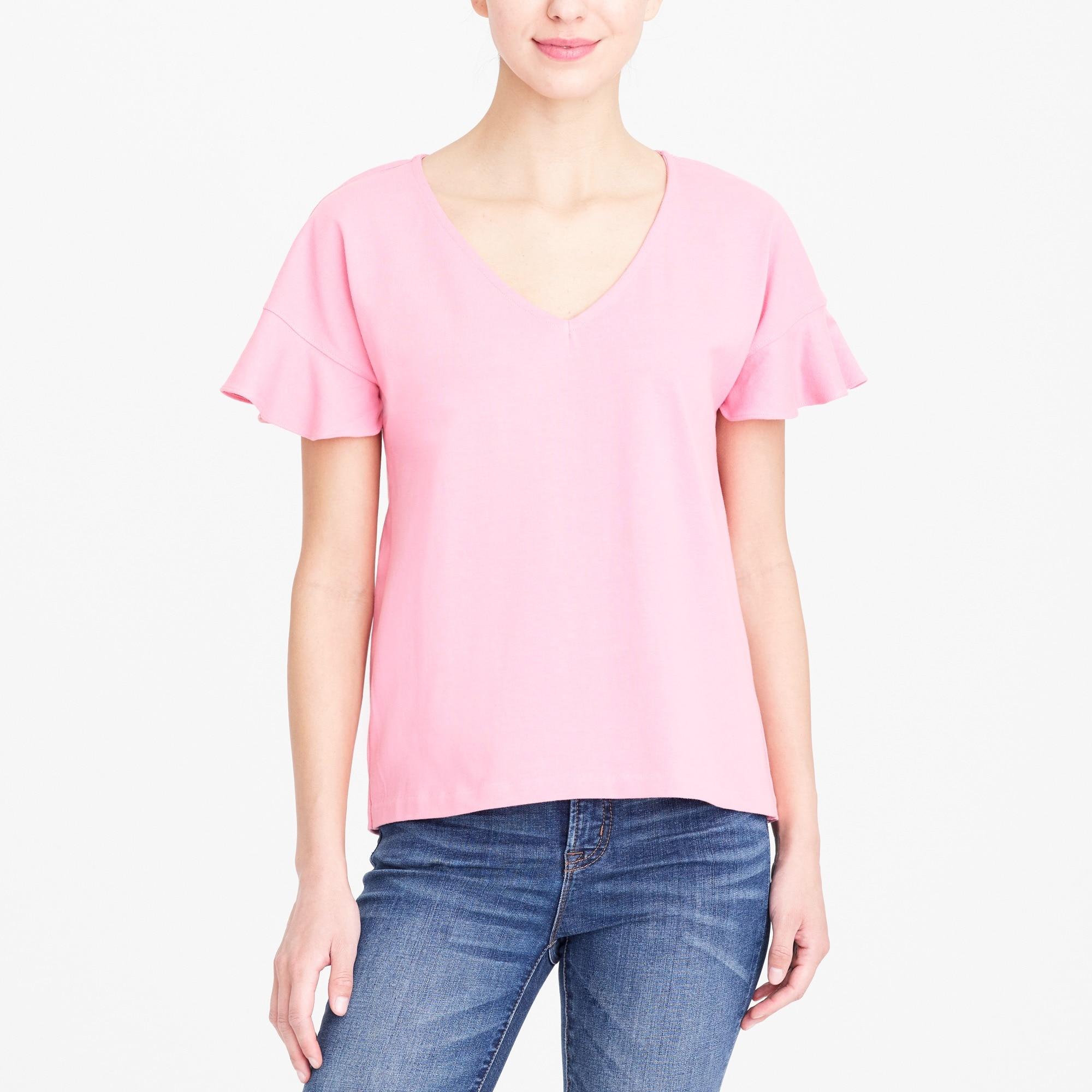 flutter-sleeve v-neck t-shirt : factorywomen short sleeve