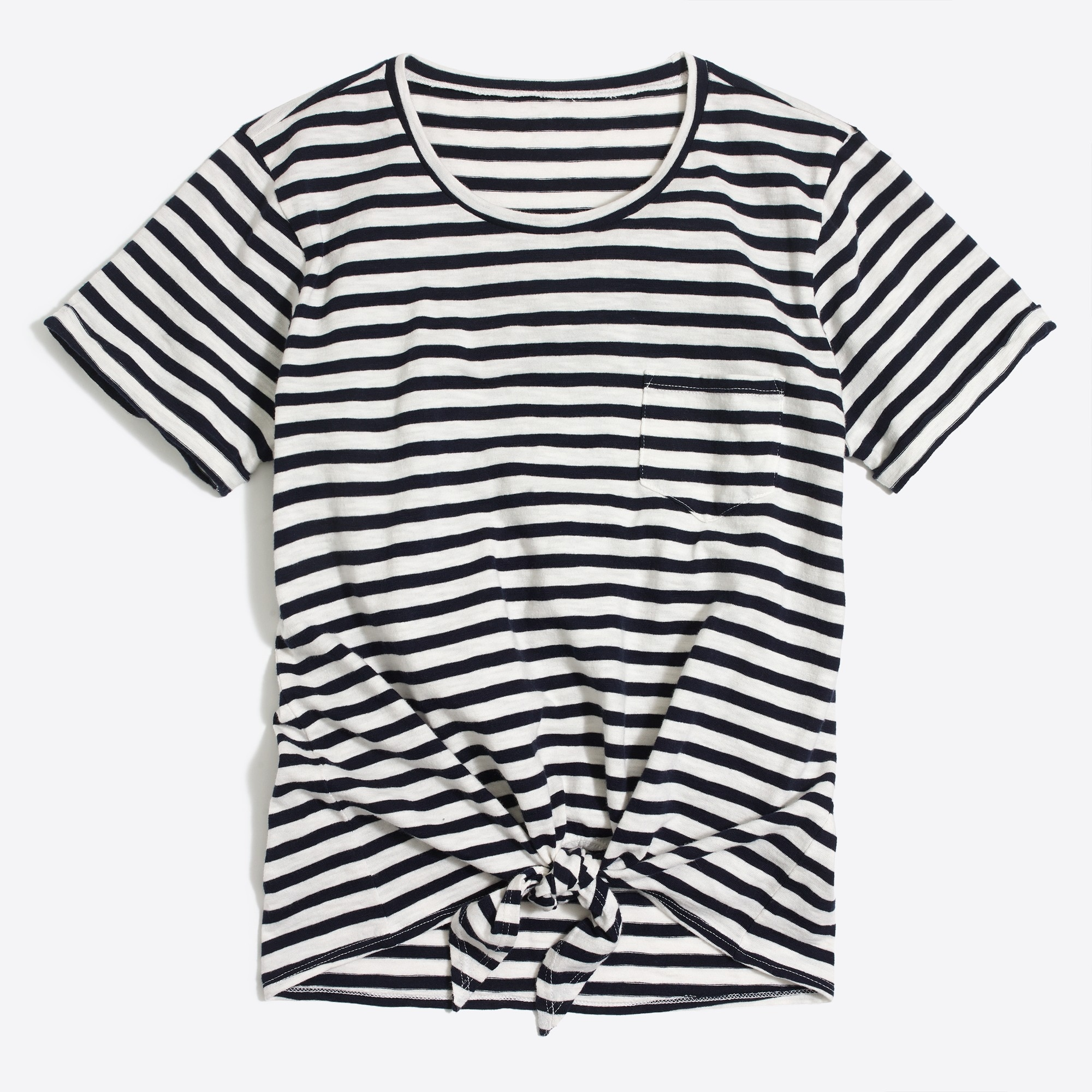 Striped tie-waist pocket T-shirt