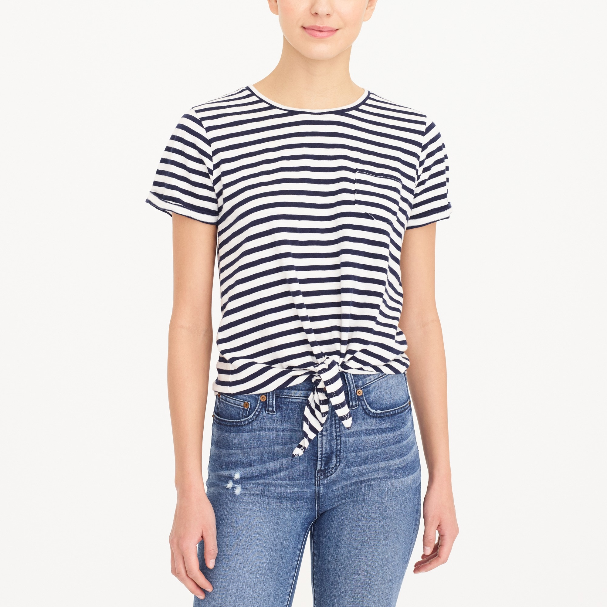 Image 1 for Striped tie-waist pocket T-shirt