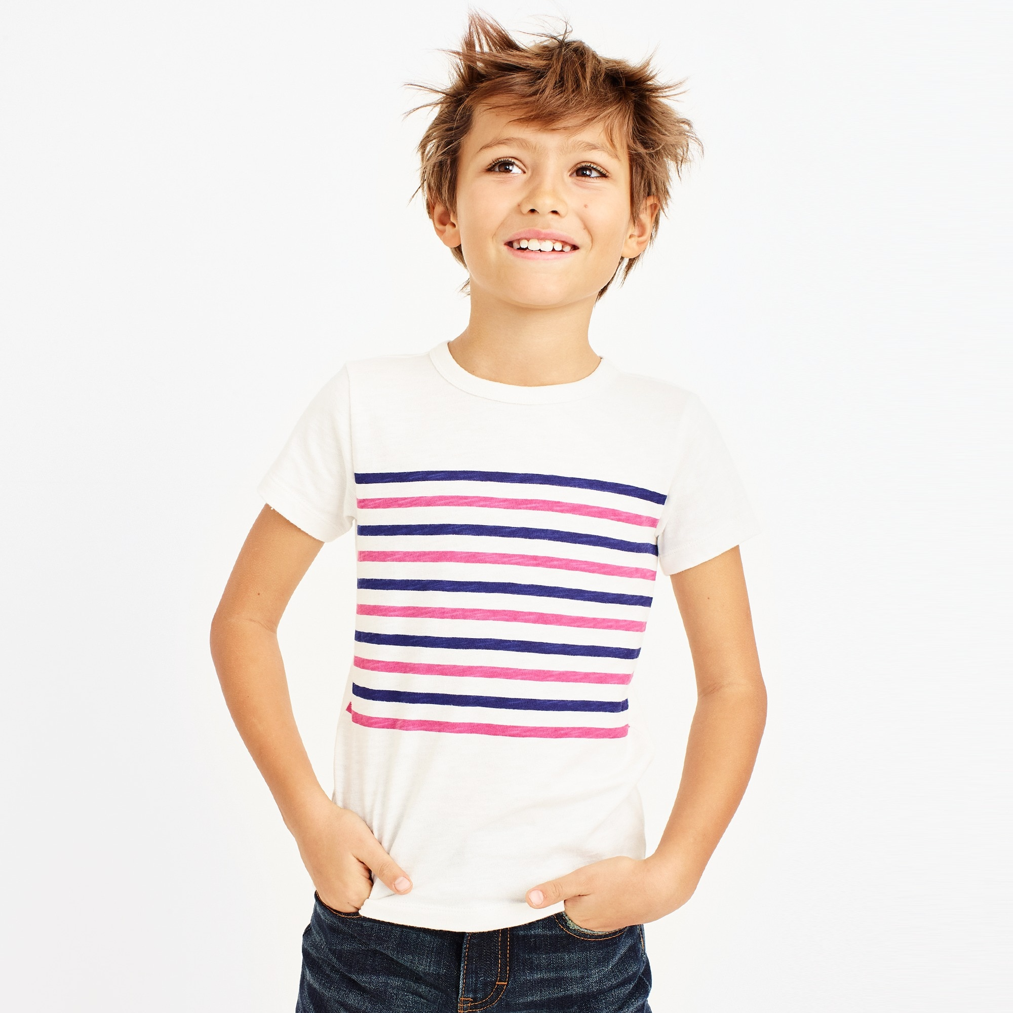 Boys' short-sleeve vintage chest stripe T-shirt factoryboys knits & t-shirts c