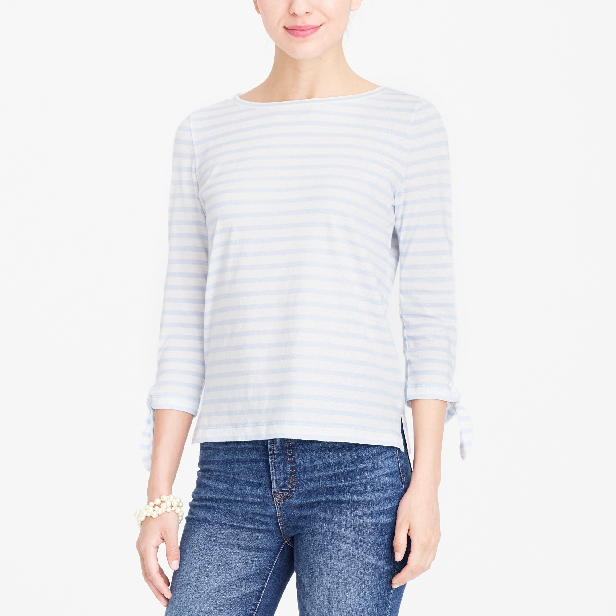 Striped tie-sleeve T-shirt