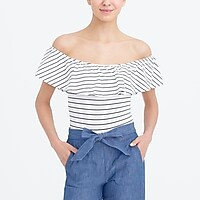 Short-sleeve striped ruffle bodysuit