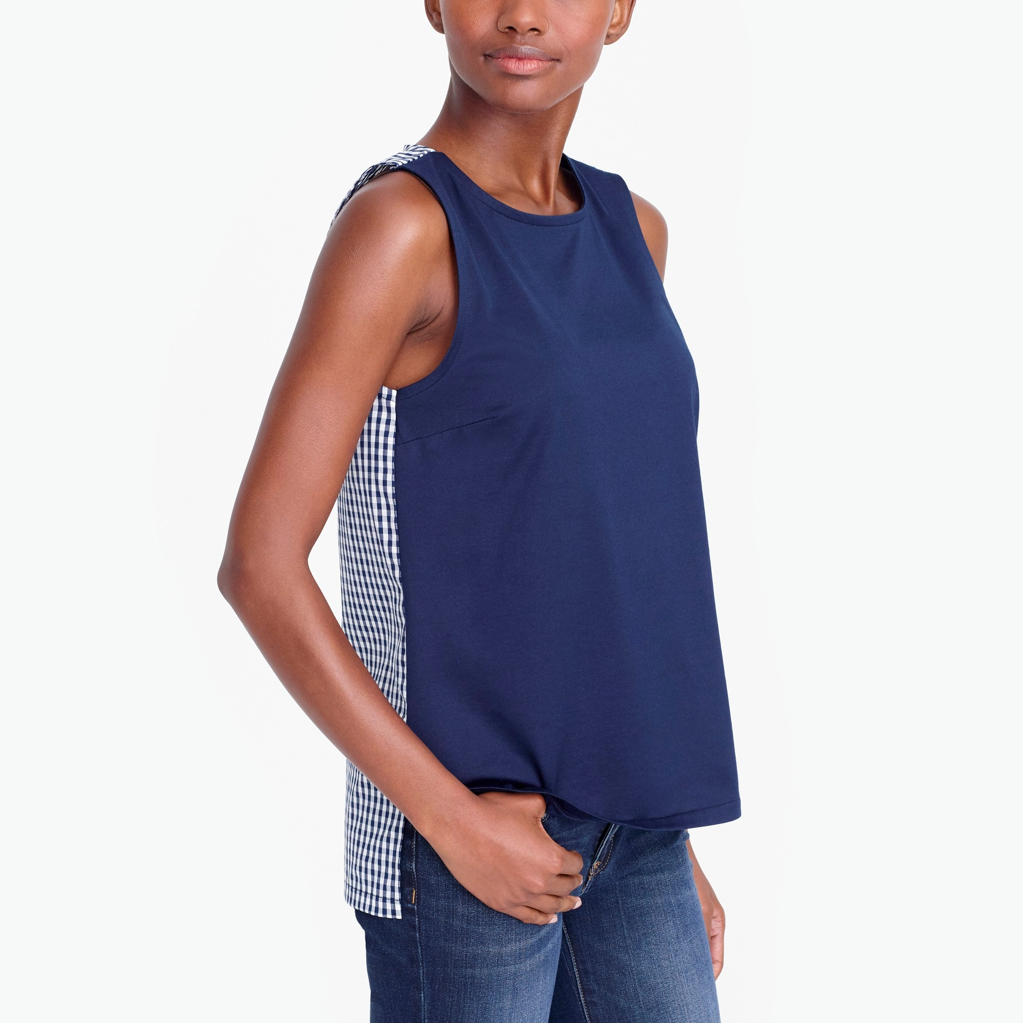Contrast terry tank top