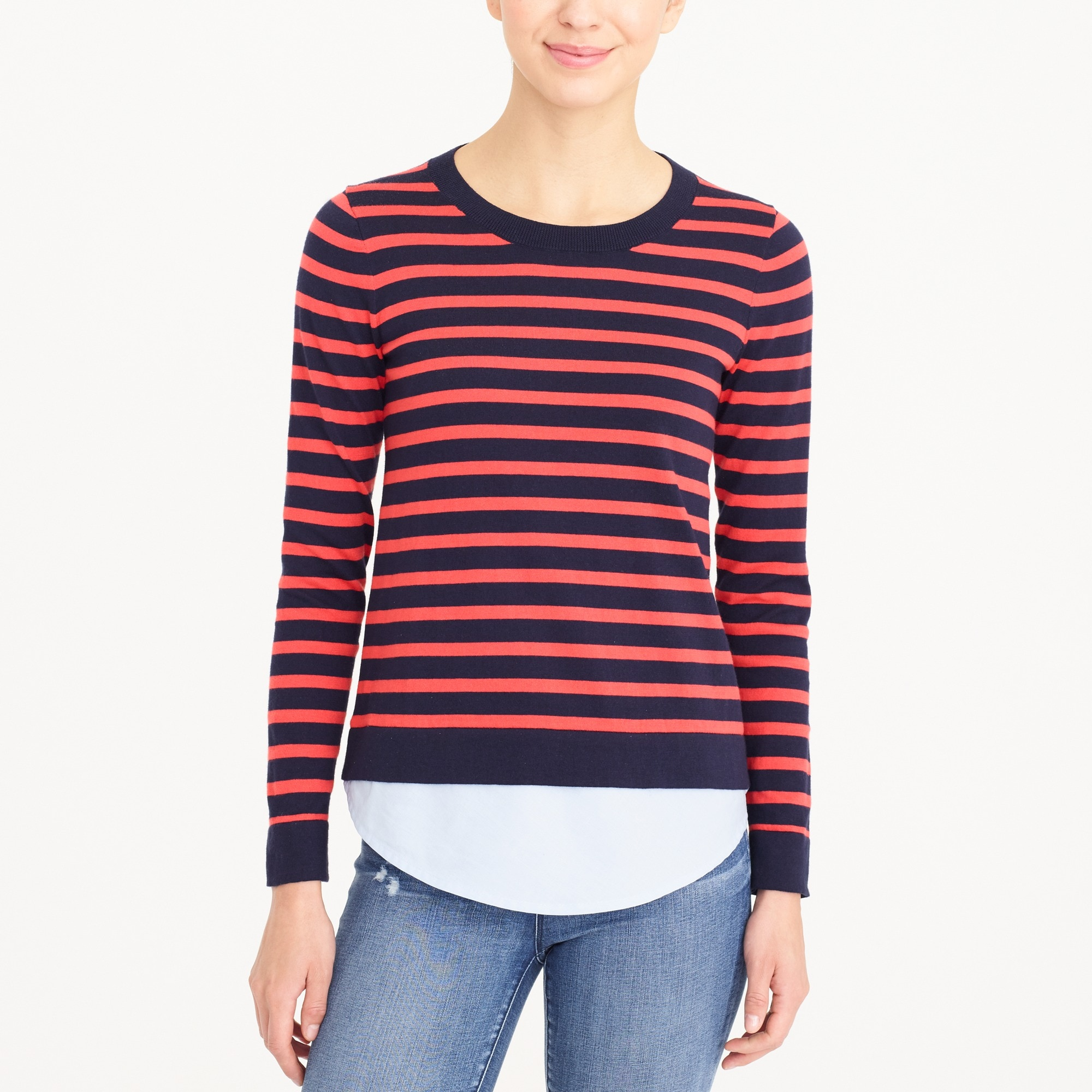 Striped sweater with woven hem factorywomen new arrivals c