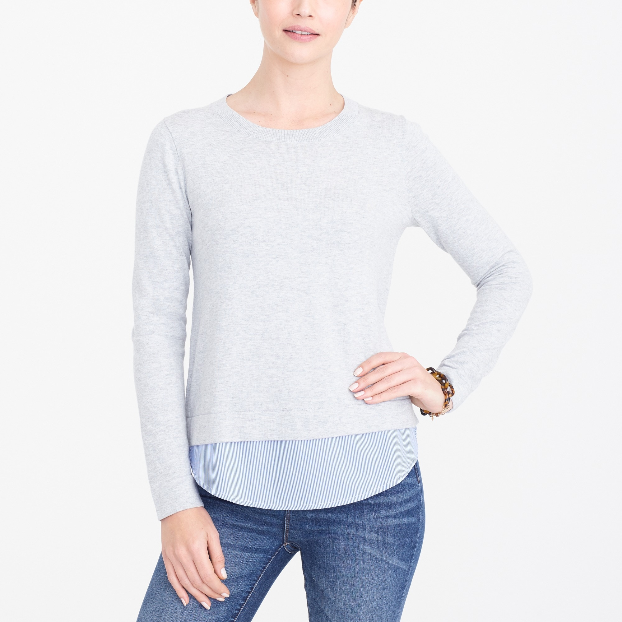 Sweater with woven hem factorywomen new arrivals c