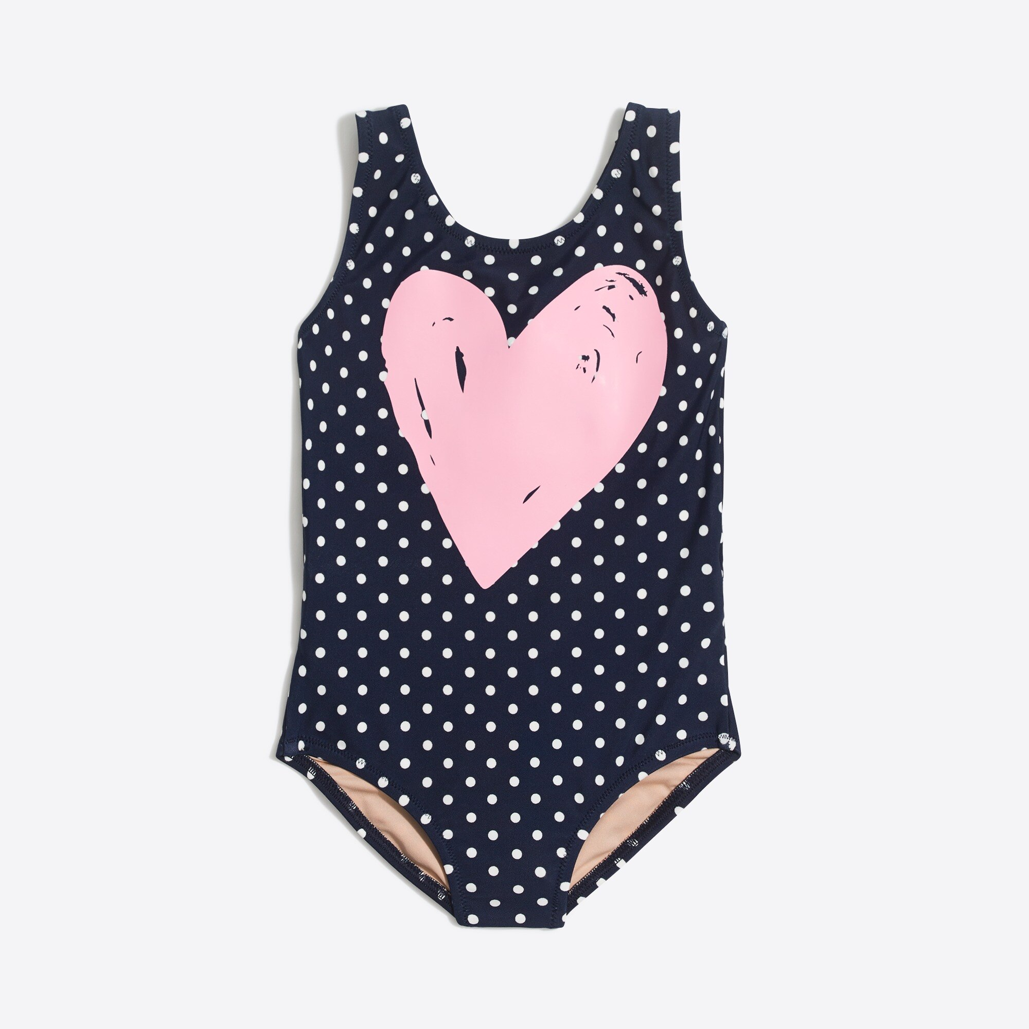 Image 1 for Girls'  pin dot one-piece with heart