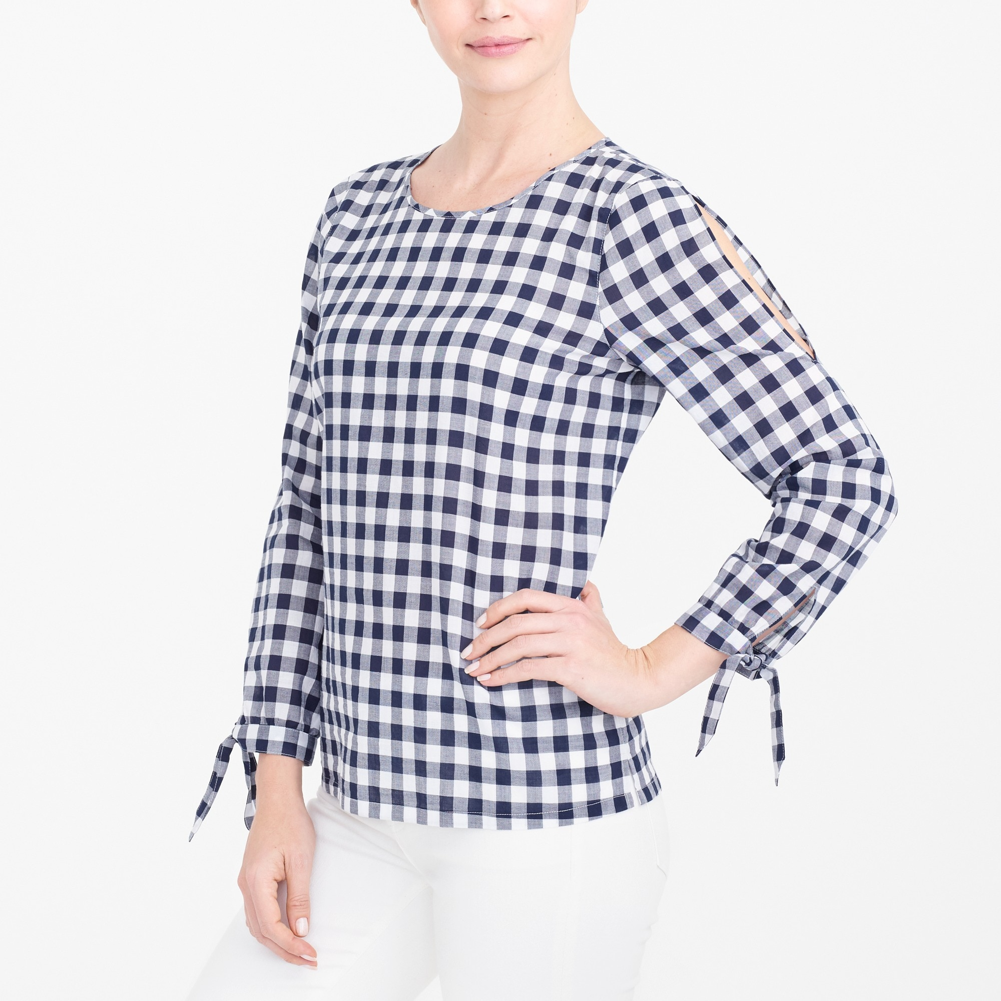 Image 1 for Bow-sleeve peekaboo blouse