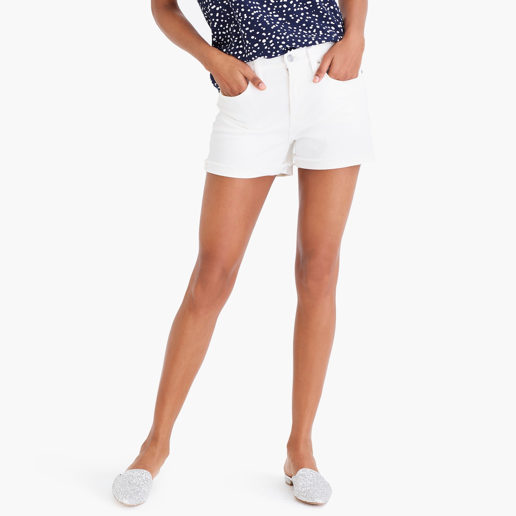 factory womens White denim short