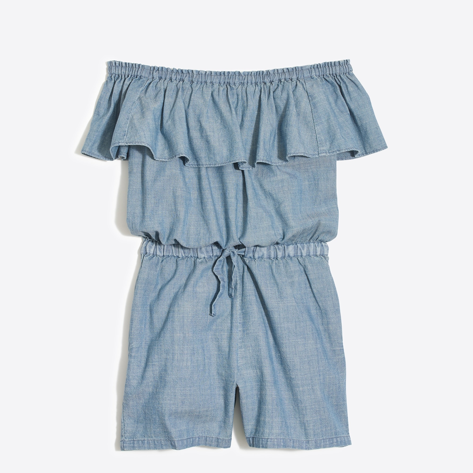 Girls' off-the-shoulder romper in chambray