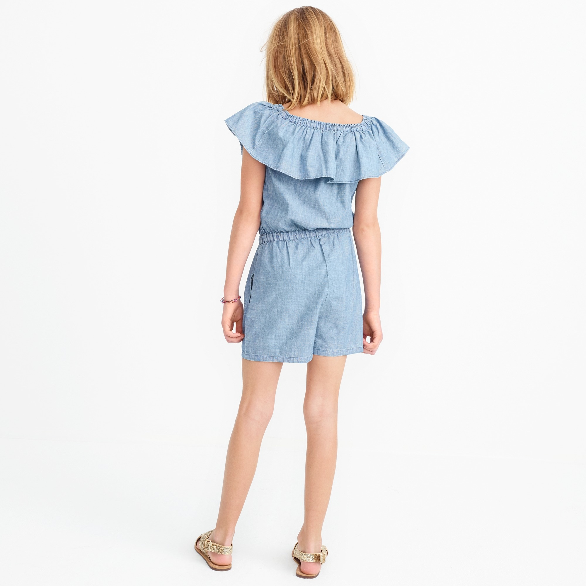 Image 3 for Girls' off-the-shoulder romper in chambray