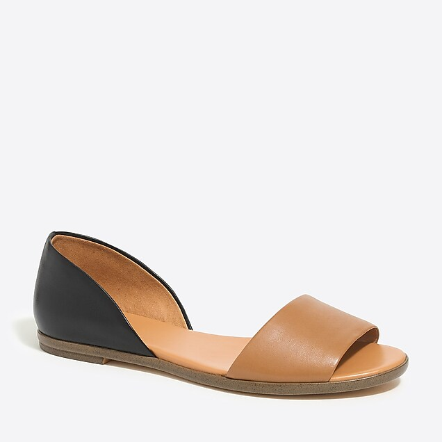 j.crew factory: morgan leather peep-toe flats