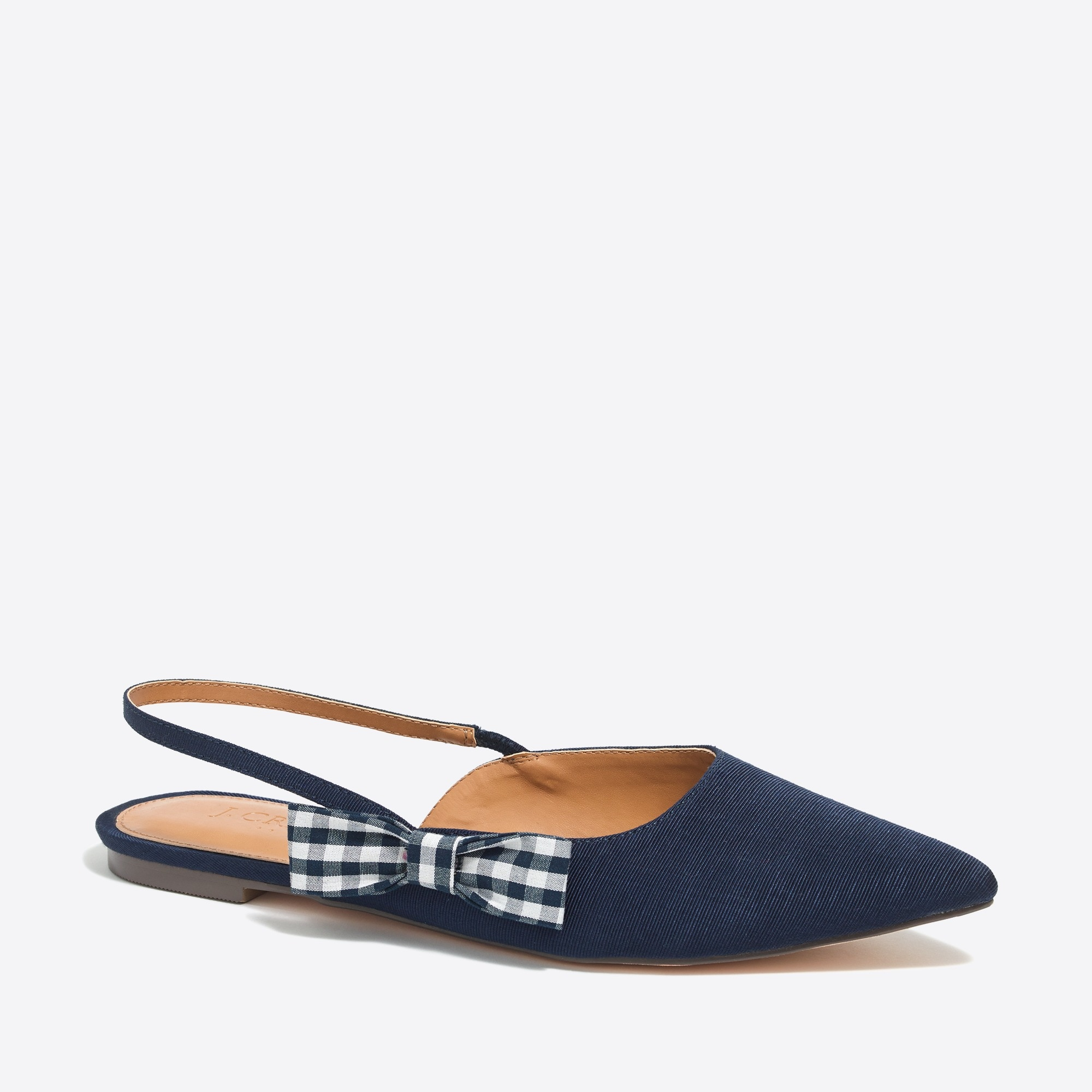 Image 1 for Slingback flats with gingham bow
