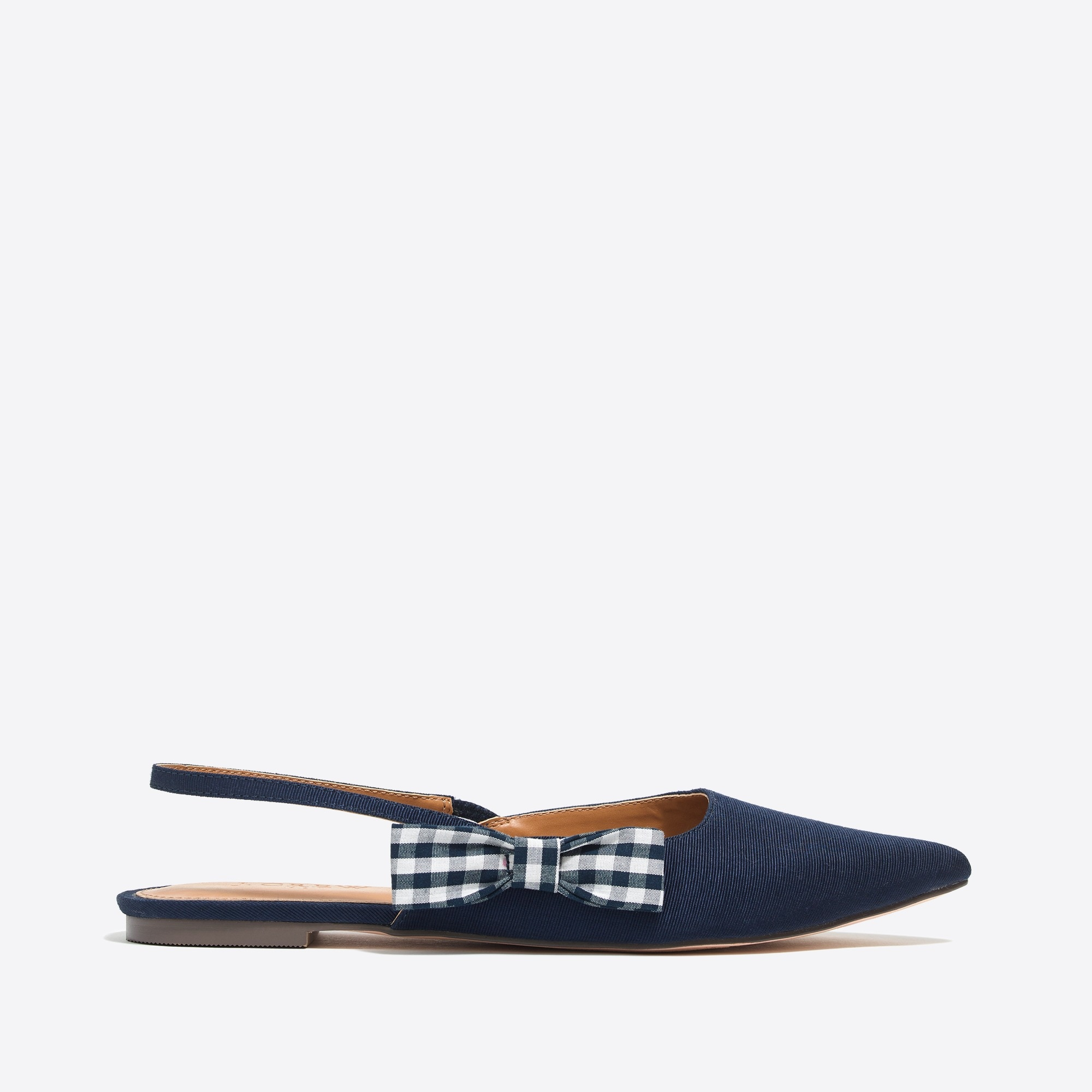 Image 3 for Slingback flats with gingham bow