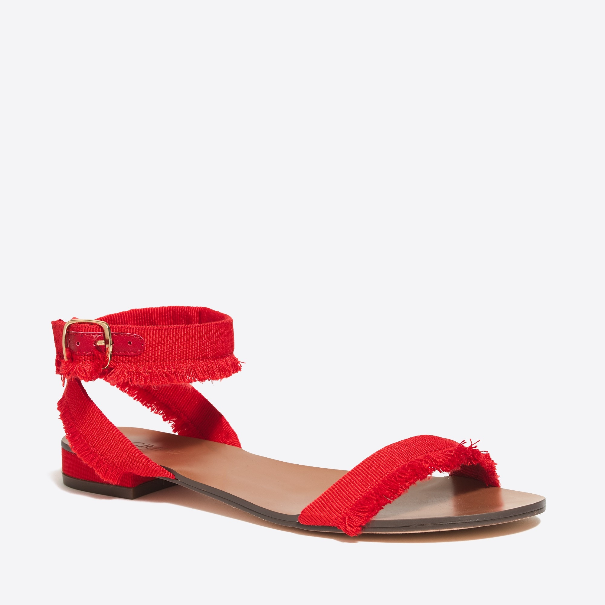 raw-edge grosgrain sandals : factorywomen sizes 5 & 12 shoes
