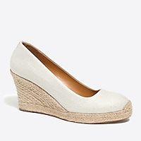 Metallic canvas espadrille wedges