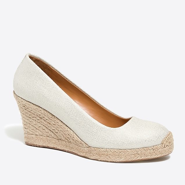 j.crew factory: metallic canvas espadrille wedges