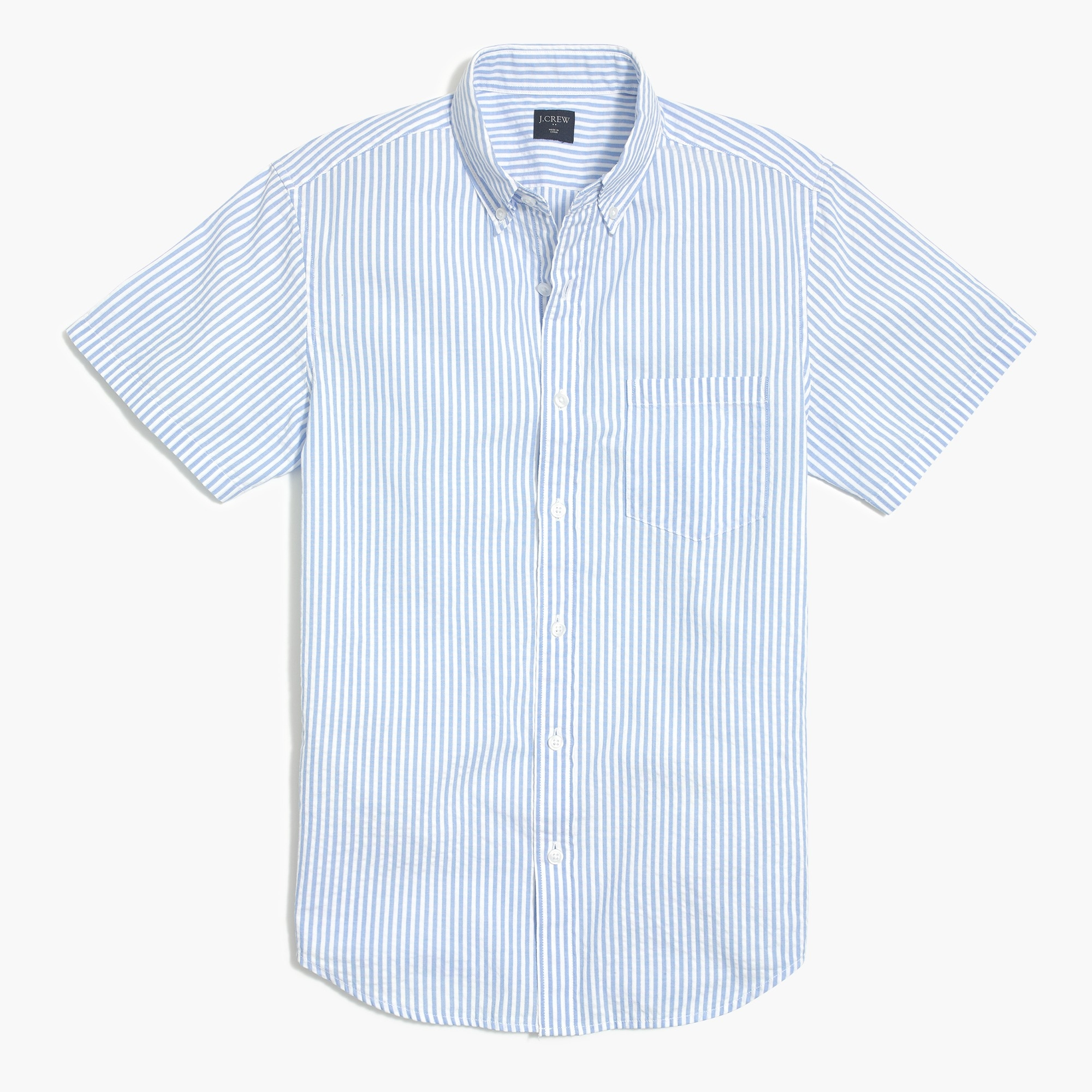 factory mens Slim-fit short-sleeve seersucker shirt