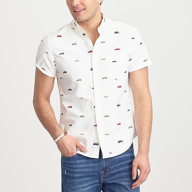 j.crew factory: short-sleeve printed oxford shirt