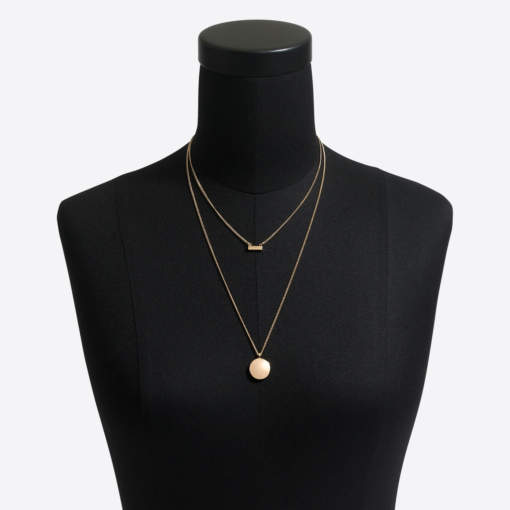Gold disc and bar layering necklace
